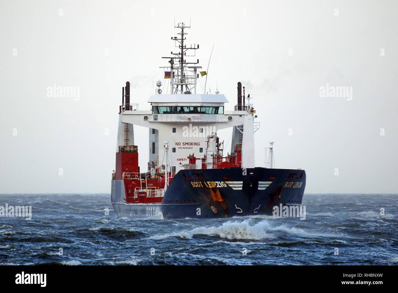The tanker Scot Leipzig happened on 1 January 2019 Cuxhaven direction Hamburg. - Stock Image