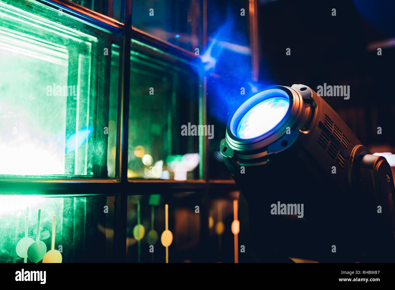Stage lights or spot lights at the concert, disco, club or bar. Spotlight illuminate the area in the dark background. - Stock Image