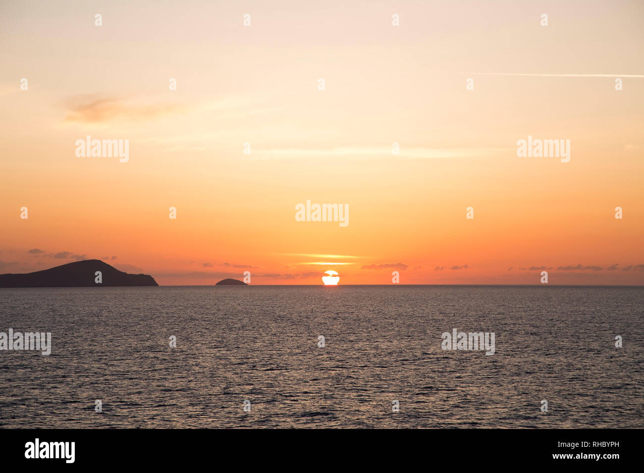 Orange sunset over the sea - Stock Image