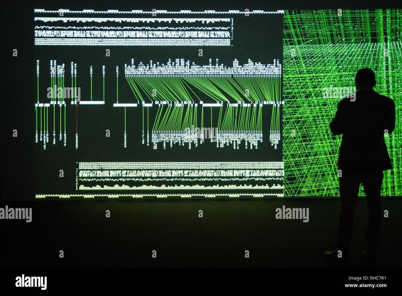 Athens, Greece. 1st Feb, 2019. A visitor seen looking at the Multimedia project Data Flux (12 XGA version) by Japanese artist Ryoji Ikeda at the Onassis Cultural Center in Athens. The Japanese artist presents an installation which challenges the limits of human perception and digital technology. With the precision of a metronome, twelve parallel video projectors synchronize with a minimalist electronic composition, turning numbers and data into the ultimate sensory experience for the visitor. Credit: ZUMA Press, Inc./Alamy Live News - Stock Image