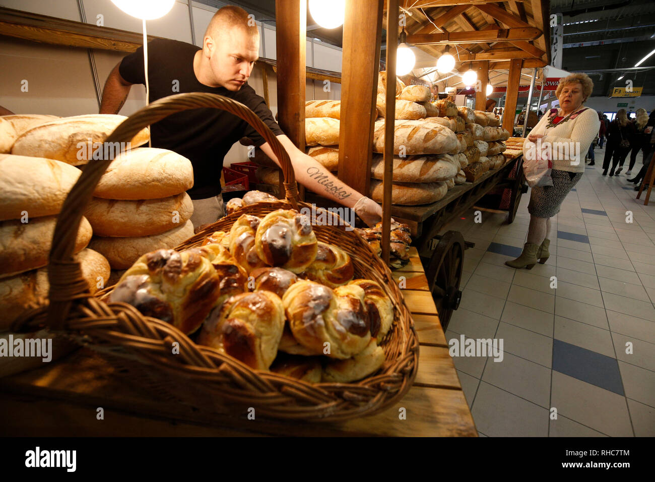 Warsaw, Poland  1st Feb, 2019  A woman selects freshly-baked pastry