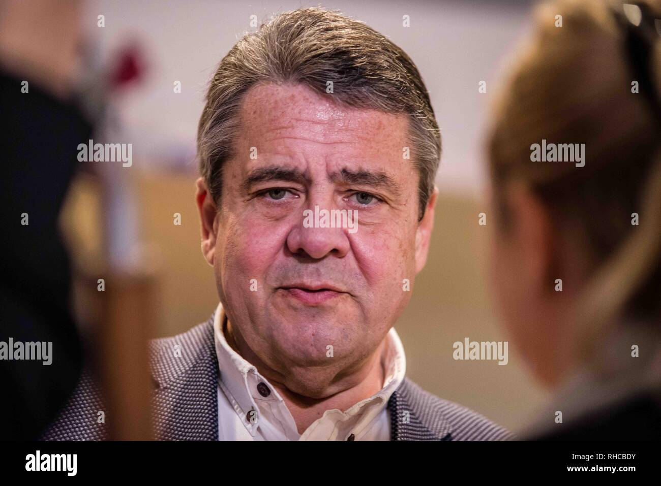 Munich, Bavaria, Germany. 2nd Feb, 2019. Former German Foreign Minister and Vice-Chancellor SIGMAR GABRIEL during an appearance with Bundestag member Florian Post at Munich's Literaturhaus. In support of his new book Zeitenwende in der Politik, the former German Foreign Minister and Vice Chancellor SIGMAR GABRIEL appeared in Munich with fellow SPD Bundestag member Florian Post. Gabriel and Post discussed topics including the questions around the US partnership with Europe where the former no longer feels responsible for the security of the latter. Further topics included a lack of cohe - Stock Image
