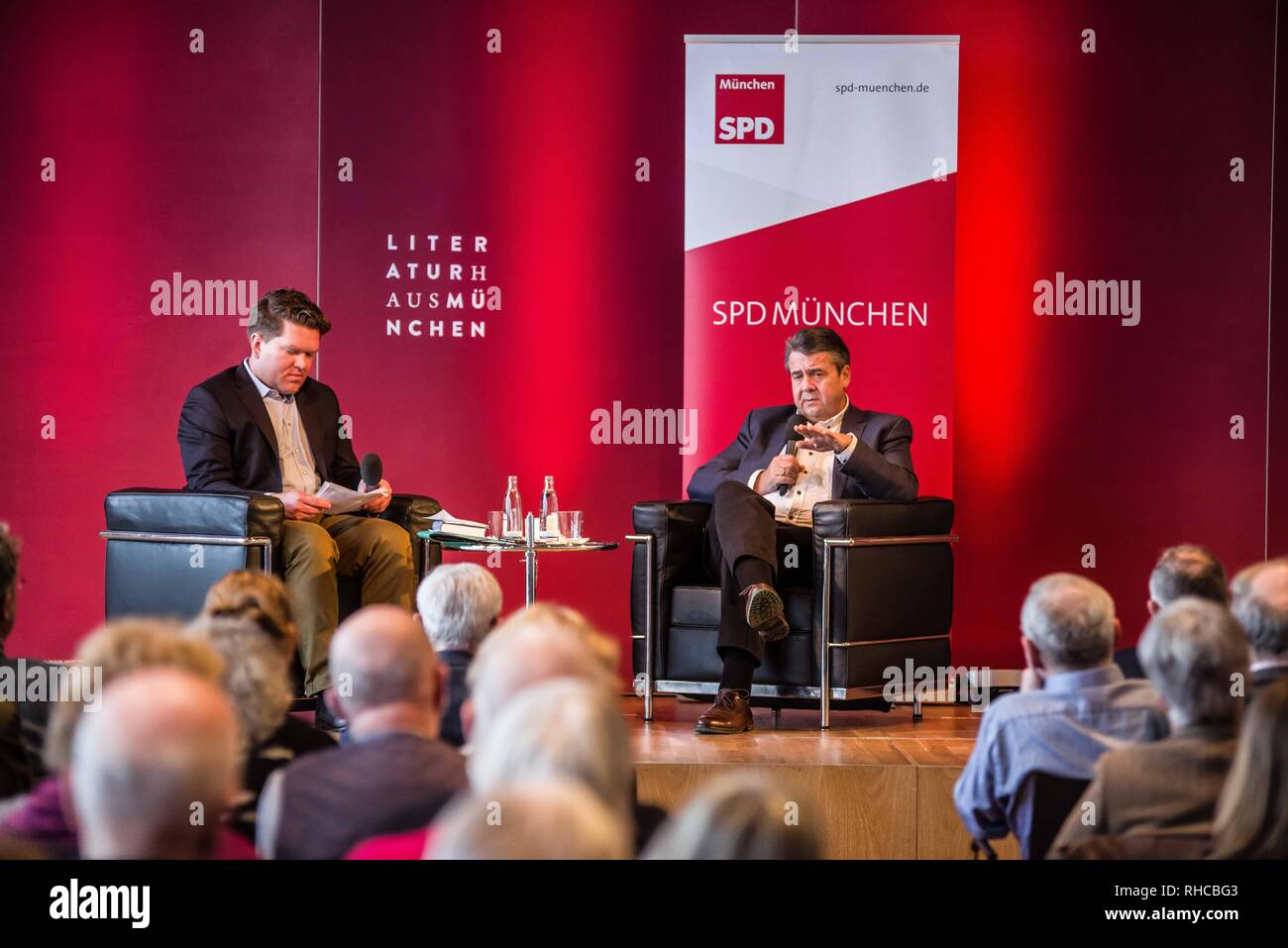 Munich, Bavaria, Germany. 2nd Feb, 2019. In support of his new book Zeitenwende in der Politik, the former German Foreign Minister and Vice Chancellor SIGMAR GABRIEL appeared in Munich with fellow SPD Bundestag member Florian Post. Gabriel and Post discussed topics including the questions around the US partnership with Europe where the former no longer feels responsible for the security of the latter. Further topics included a lack of cohesion of the European Union, NATO, right-radicalism, and China. Gabriel withdrew from his position as Foreign Minister in 2018 and since the right-extr - Stock Image