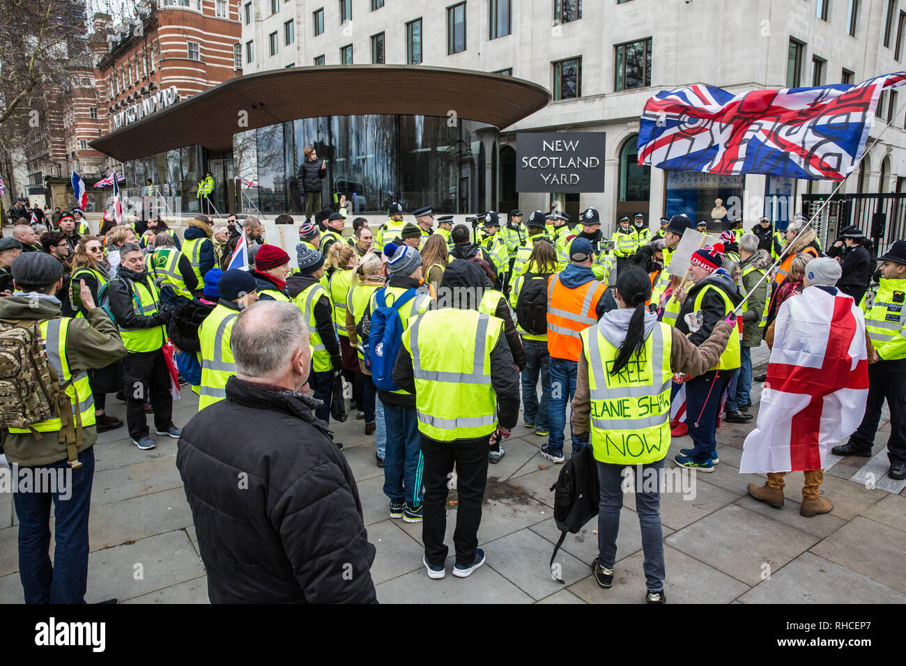 London, UK. 2nd February, 2019. Supporters of Yellow Vests UK protest outside New Scotland Yard to call for 'British people to be put first', for a 'full Brexit' and for 'an end to government, court and banking corruption'. Credit: Mark Kerrison/Alamy Live News - Stock Image