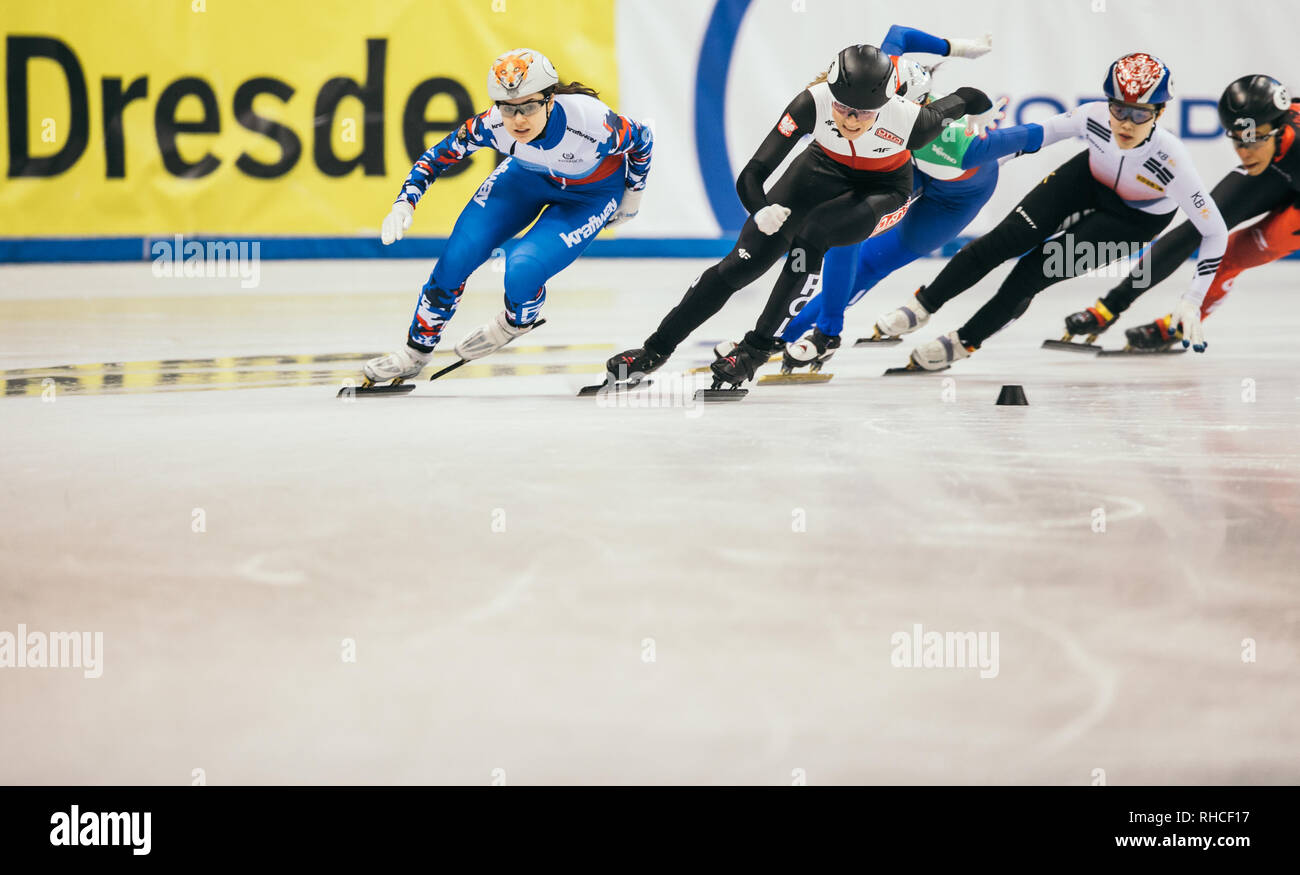 Dresden, Germany. 02nd Feb, 2019. Shorttrack: World Cup, final, 1000 meters for the women in the EnergieVerbund Arena: Winner Sofia Proswirnowa (l.t.r.) from Russia in the run alongside Natalia Maliszewska from Poland and Choi Jihyun from South Korea as well as Alyson Charles from Canada. Credit: Oliver Killig/dpa-Zentralbild/dpa/Alamy Live News - Stock Image