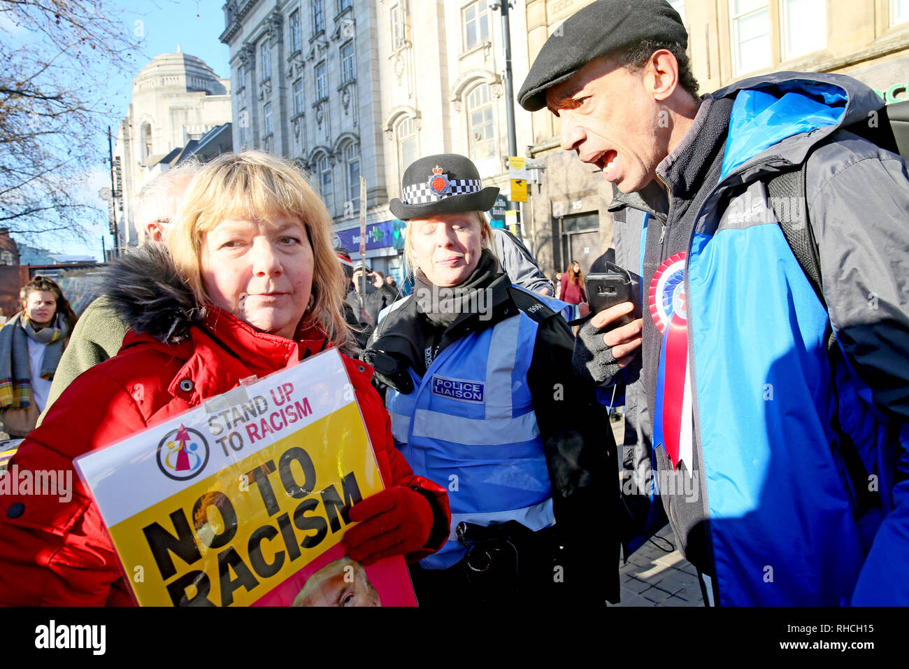 Manchester, UK. 2nd February 2019. A right wing protester shouting at an anti racist campaigner in Piccadilly Gardens,  Manchester, UK, 2nd February 2019 (C)Barbara Cook/Alamy Live News Credit: Barbara Cook/Alamy Live News - Stock Image