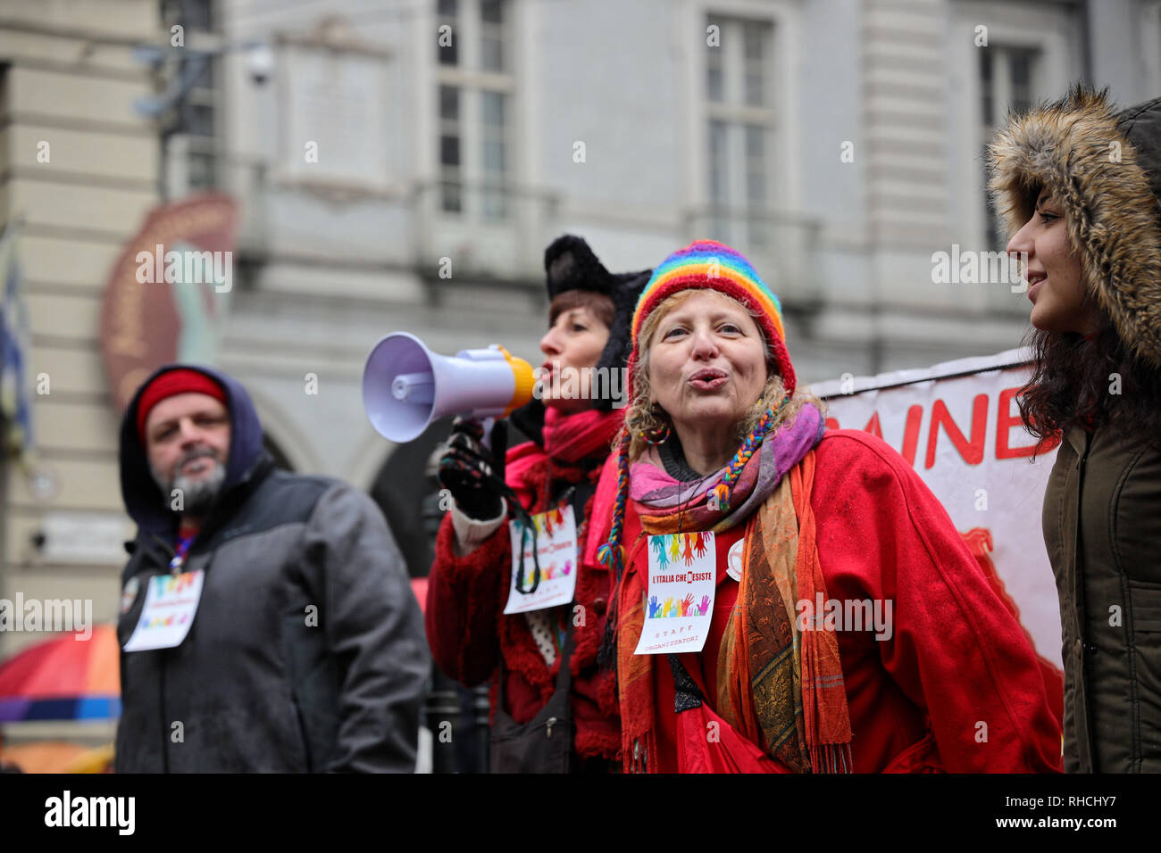 Turin, Italy. 2 February 2019. Promoters of the protest called 'Italy that resists' demonstrate for the hospitality of migrants and against the xenophobic policies of the Italian Government. Credit: MLBARIONA/Alamy Live News - Stock Image