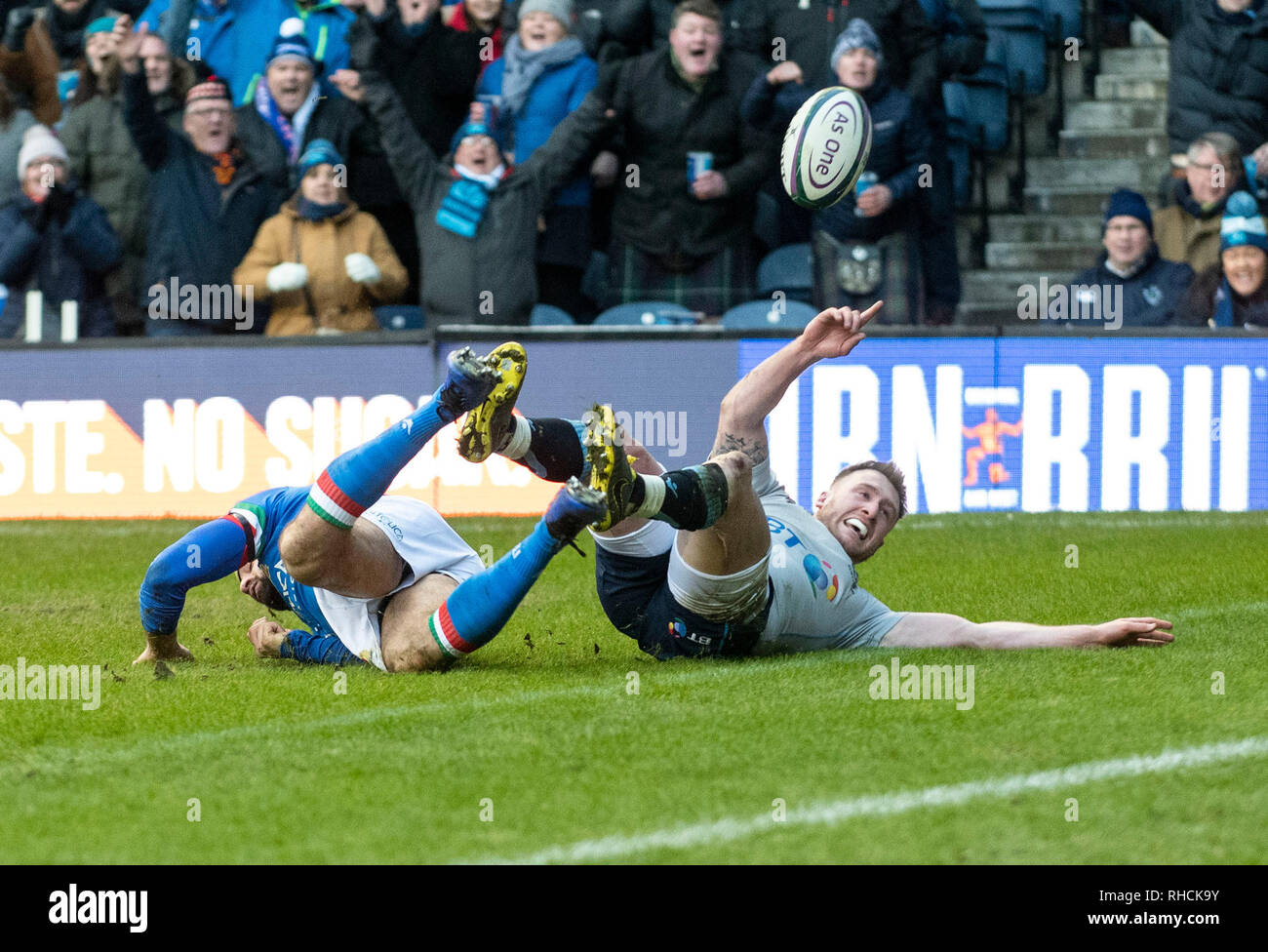 Scotland, UK. 2nd Feb 2019. : Scotland Full-Back, Stuart Hogg, grounds the ball to score  during the second half as Scotland play host to Italy in their opening game of the 2019 6 Nations Championship at Murrayfield Stadium, Edinburgh on February 2nd, 2019.  (Photo by Ian Jacobs) Credit: Ian Jacobs/Alamy Live News Credit: Ian Jacobs/Alamy Live News Stock Photo