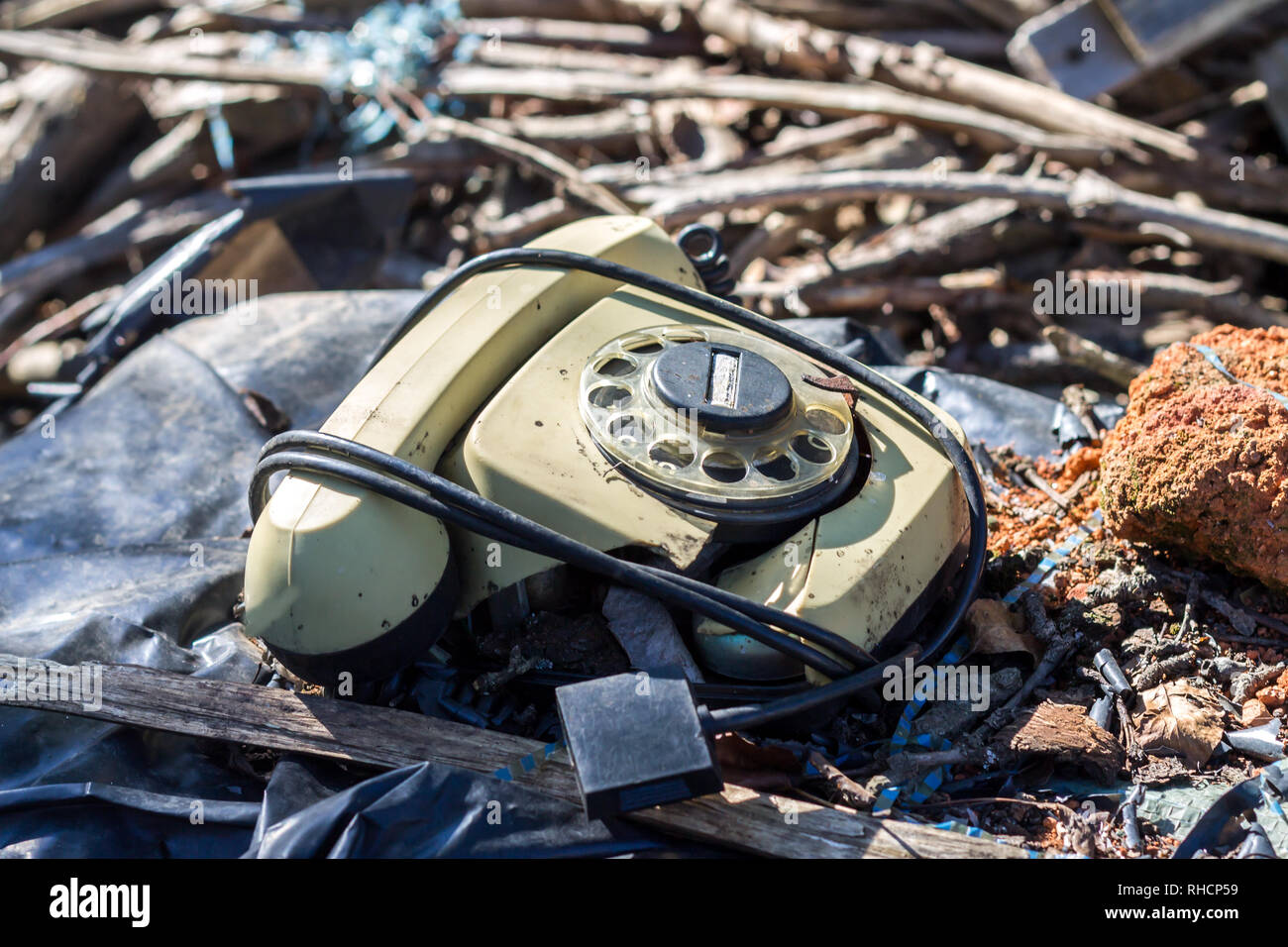 Old Retro Vintage Broken Rotary Phone - Stock Image