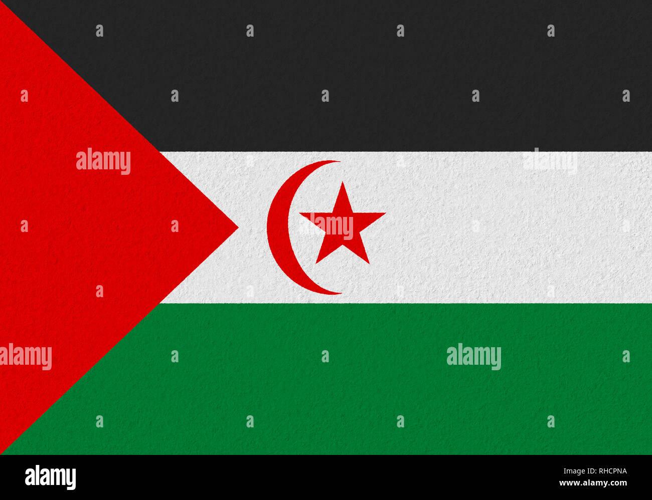 Sahrawi Arab Democratic Republic paper flag. Patriotic background. National flag of Sahrawi Arab Democratic Republic - Stock Image