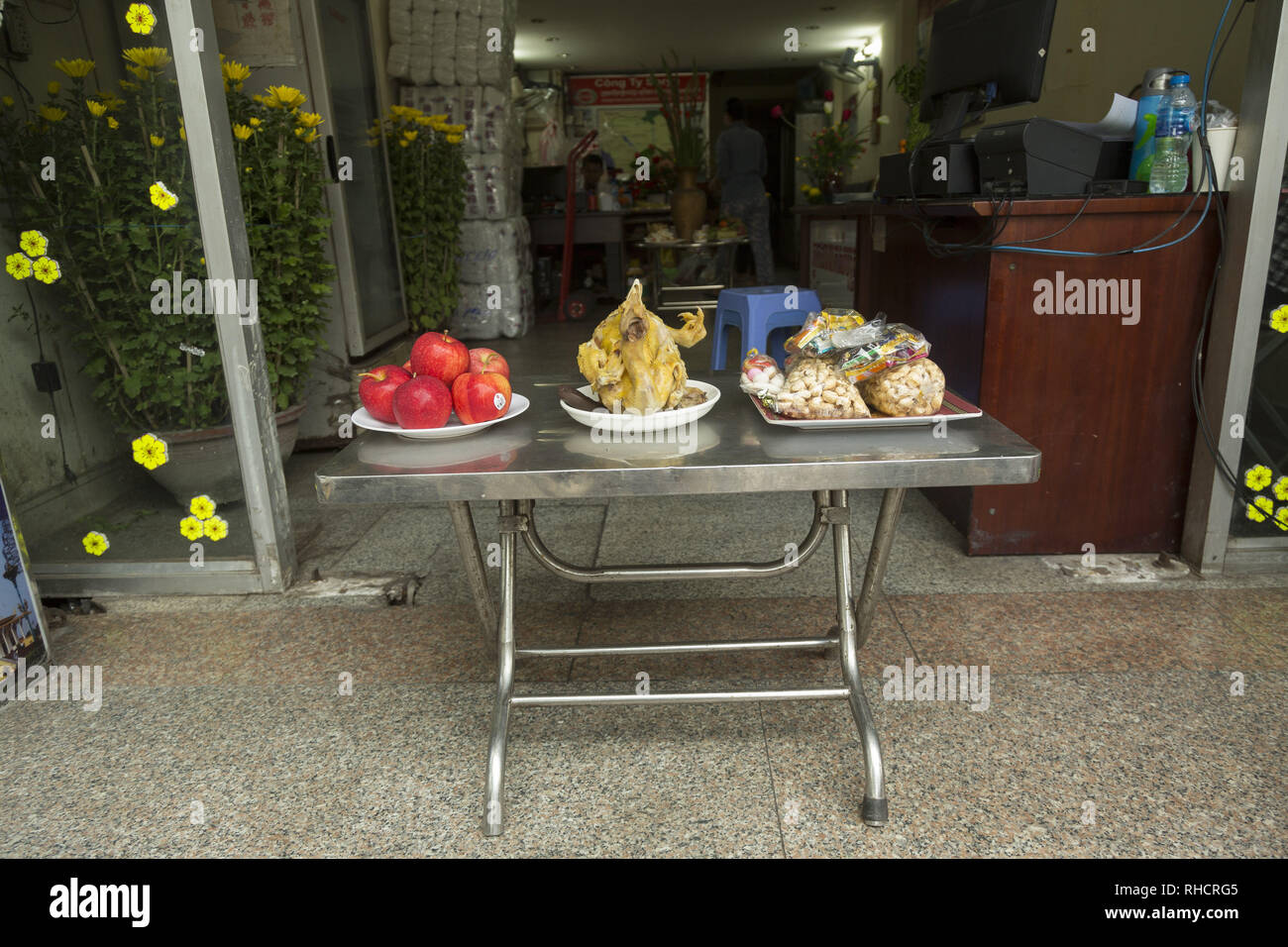 Food offering for ghosts in Buddhism Stock Photo