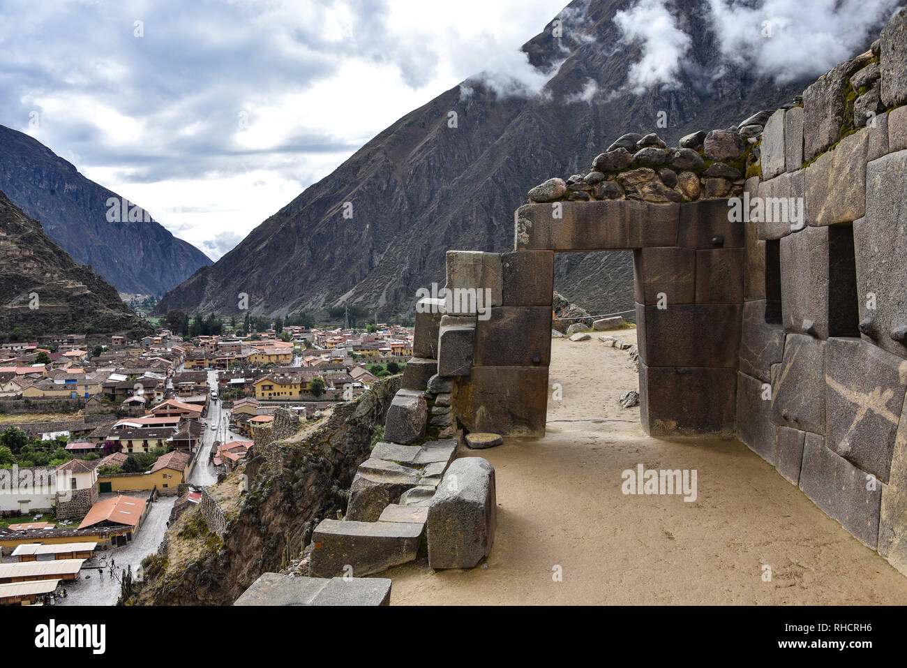 Cusco, Peru - Oct 22, 2018: Trapezoidal stone windows and doors at the Ollanytambo archaeological site in the Sacred Valley - Stock Image