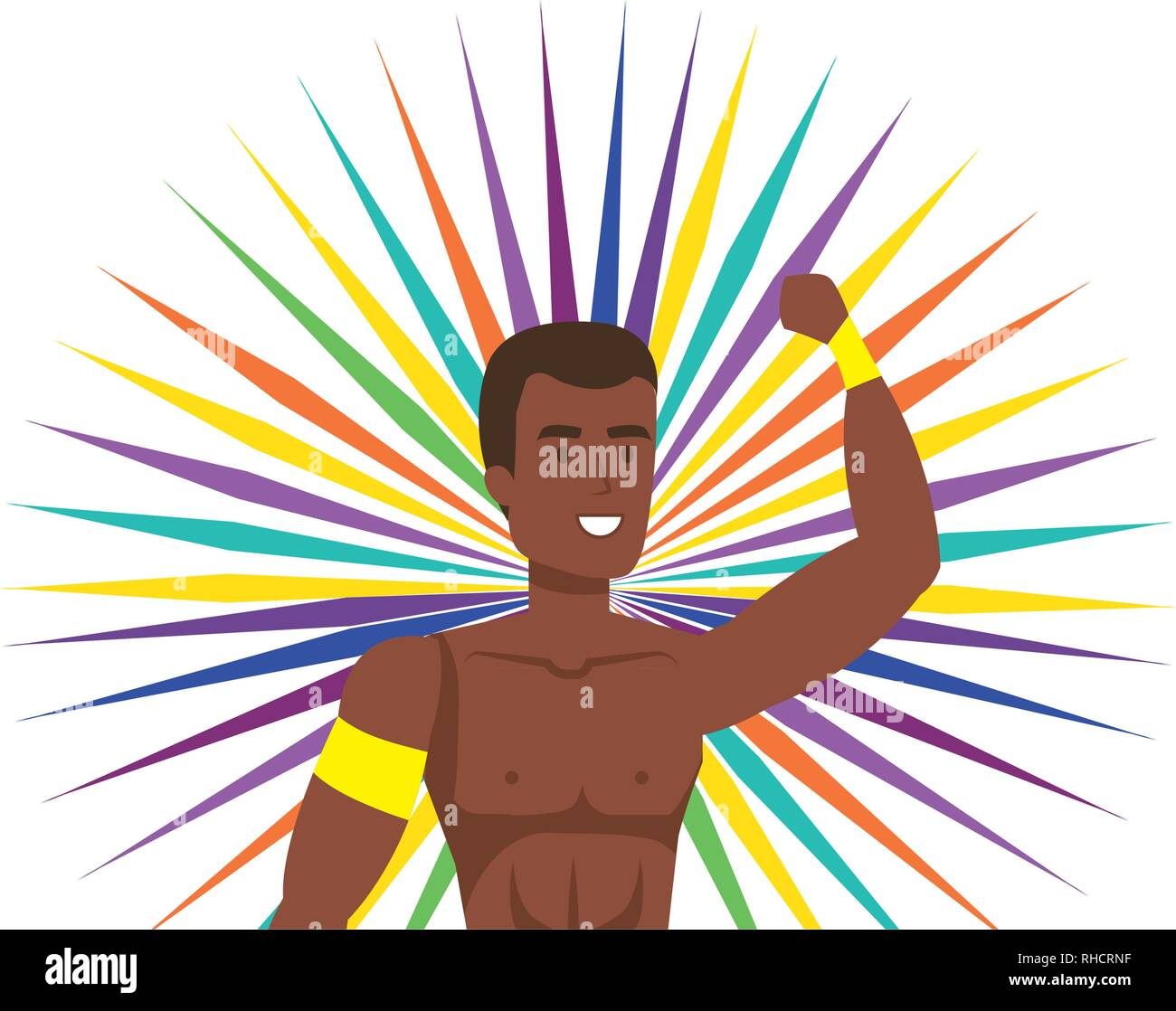 brazilian male dancer character - Stock Vector