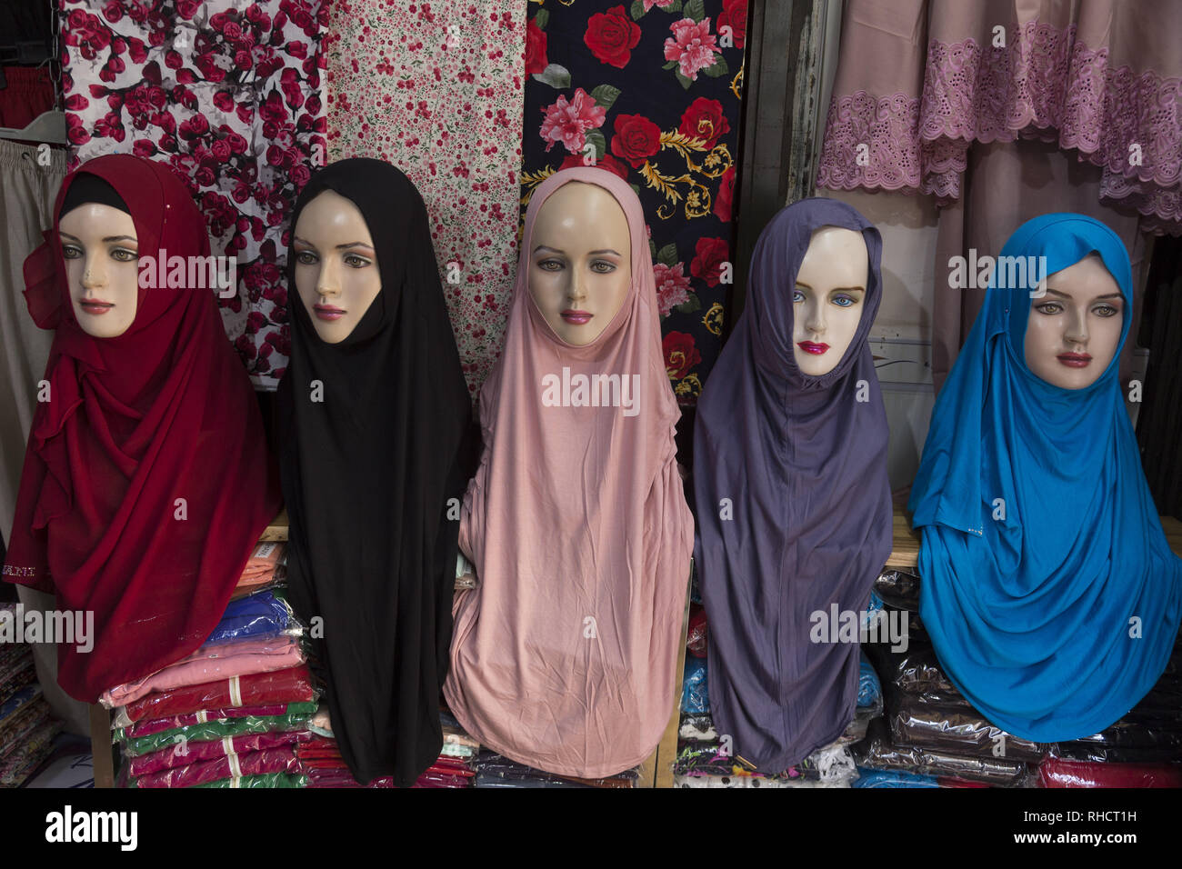 Hijabs shop for muslim women - Stock Image