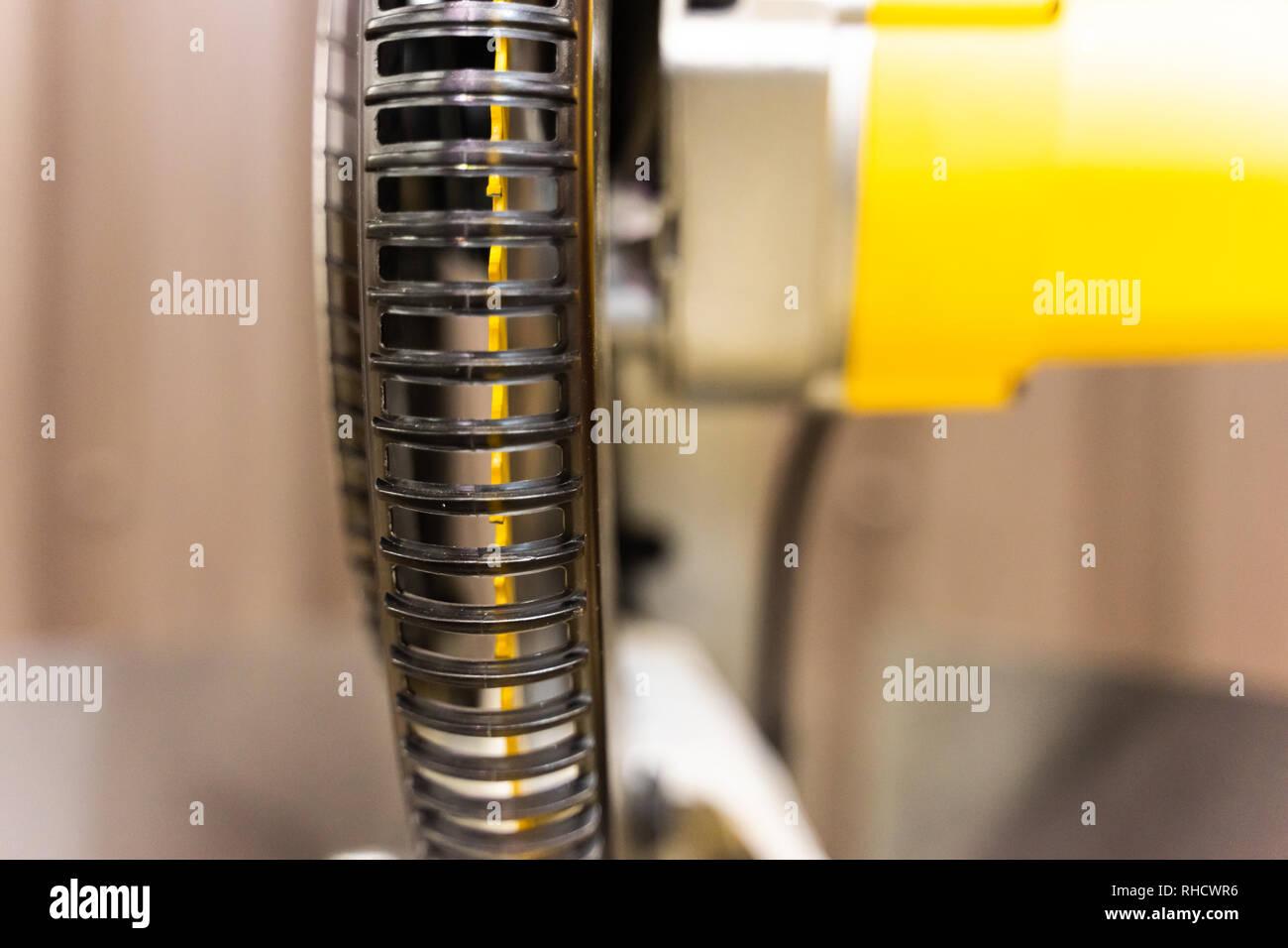 circular saw blade in lumber factory for cutting wood - Stock Image