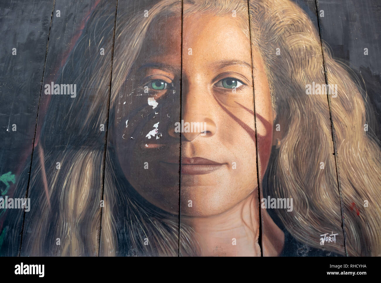 Ahed Tamimi by Jorit Agoch on the Separation Wall in Bethlehem - Stock Image