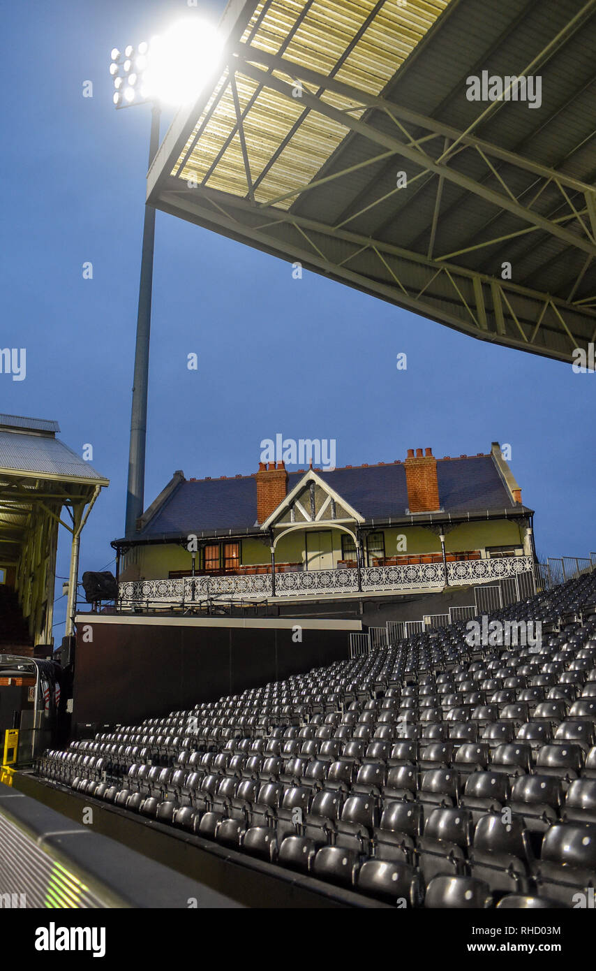 Quiet before the snow storm at Craven Cottage during the premier League match between Fulham and Brighton & Hove Albion at Craven Cottage . 29 January 2019 Editorial use only. No merchandising. For Football images FA and Premier League restrictions apply inc. no internet/mobile usage without FAPL license - for details contact Football Dataco - Stock Image