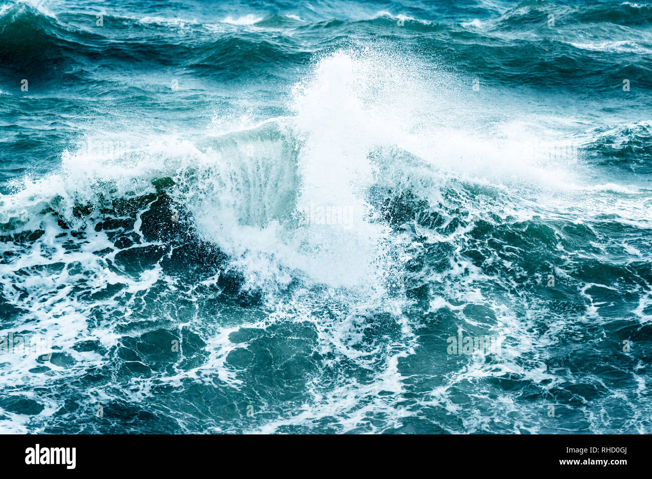 Beautiful stormy sea, abstract natural background, breaking waves, nature disaster, hurricane on the sea, power of the nature - Stock Image