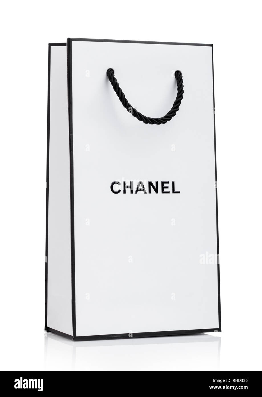 839b6570fea3 LONDON, UK - JANUARY 15, 2019: Paper Chanel shopping bag, white with