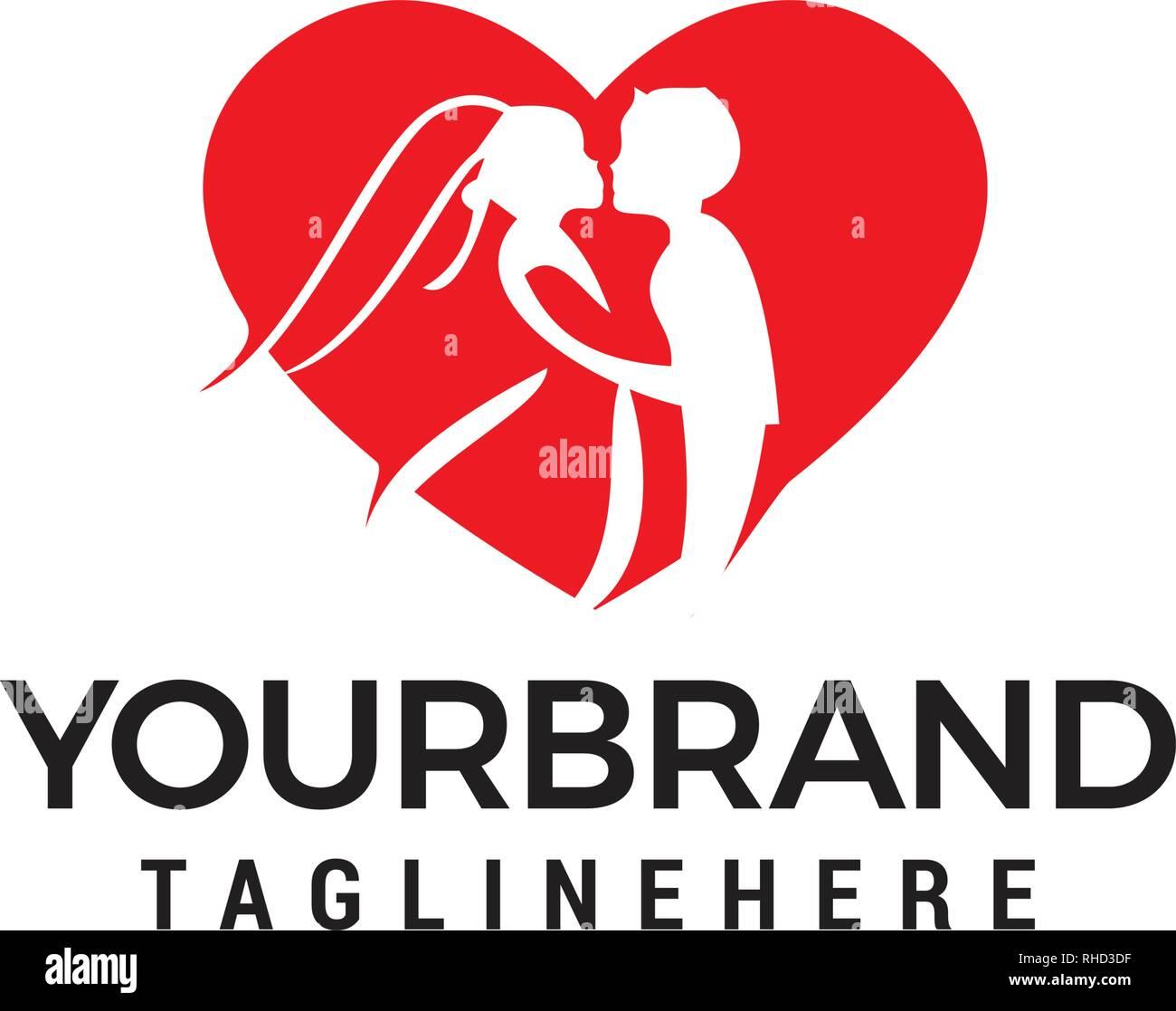 ed548064d Love couple wedding logo design template Stock Vector Art ...