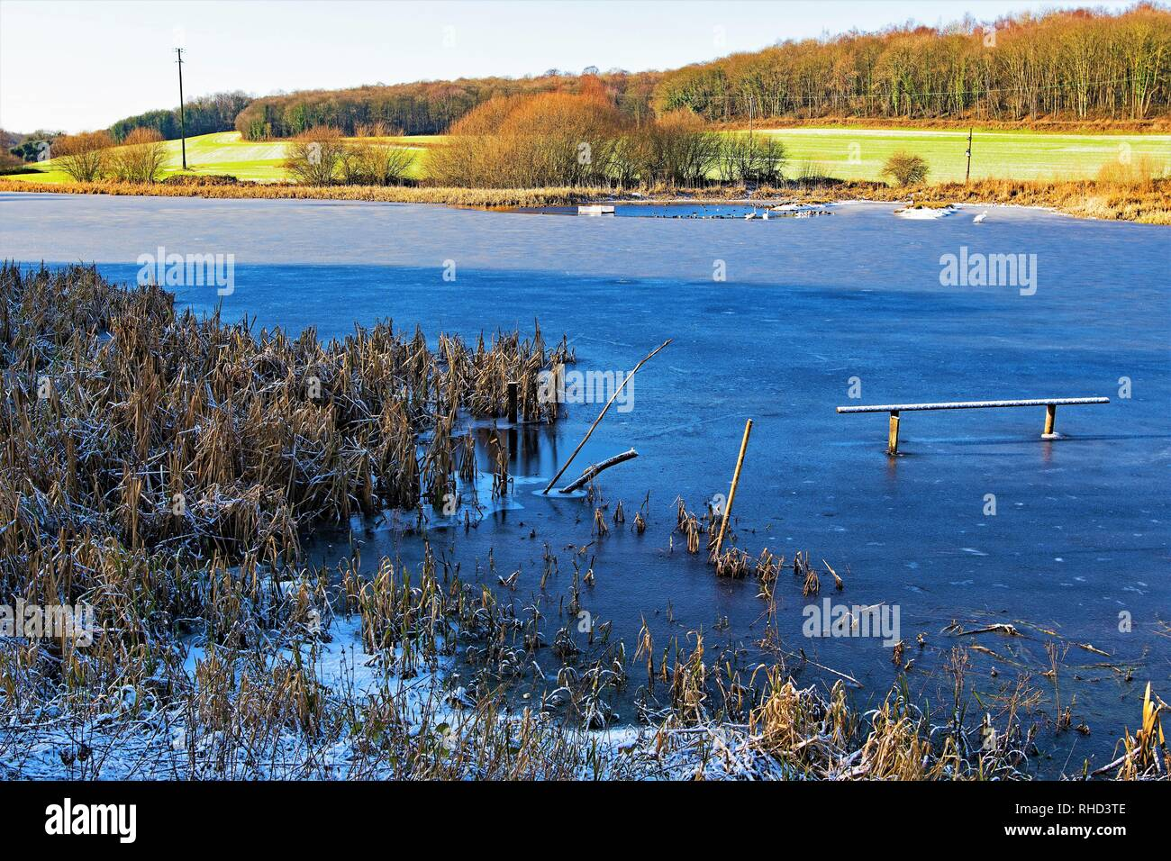 Taken to capture Sprotbrough Flash, completely frozen over in February, 2019. - Stock Image