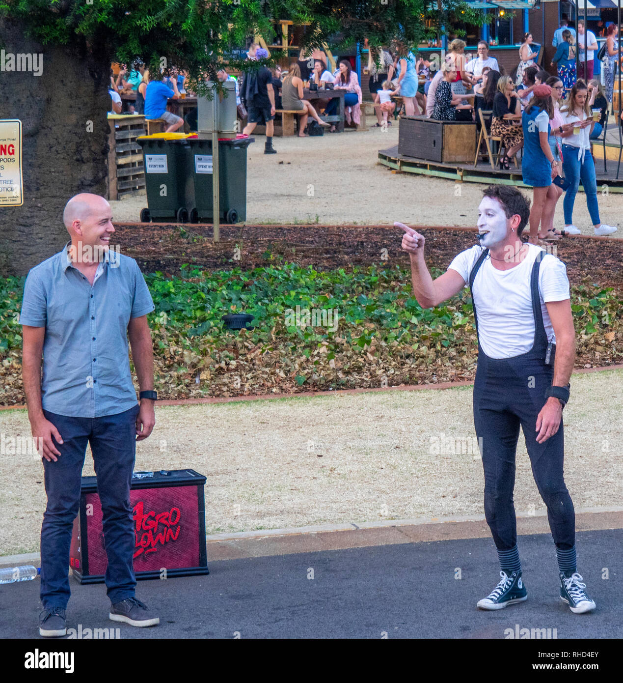A mime artist performing in front of a crowd at Fringe World Festival Russell Square Northbridge Perth WA Australia. - Stock Image