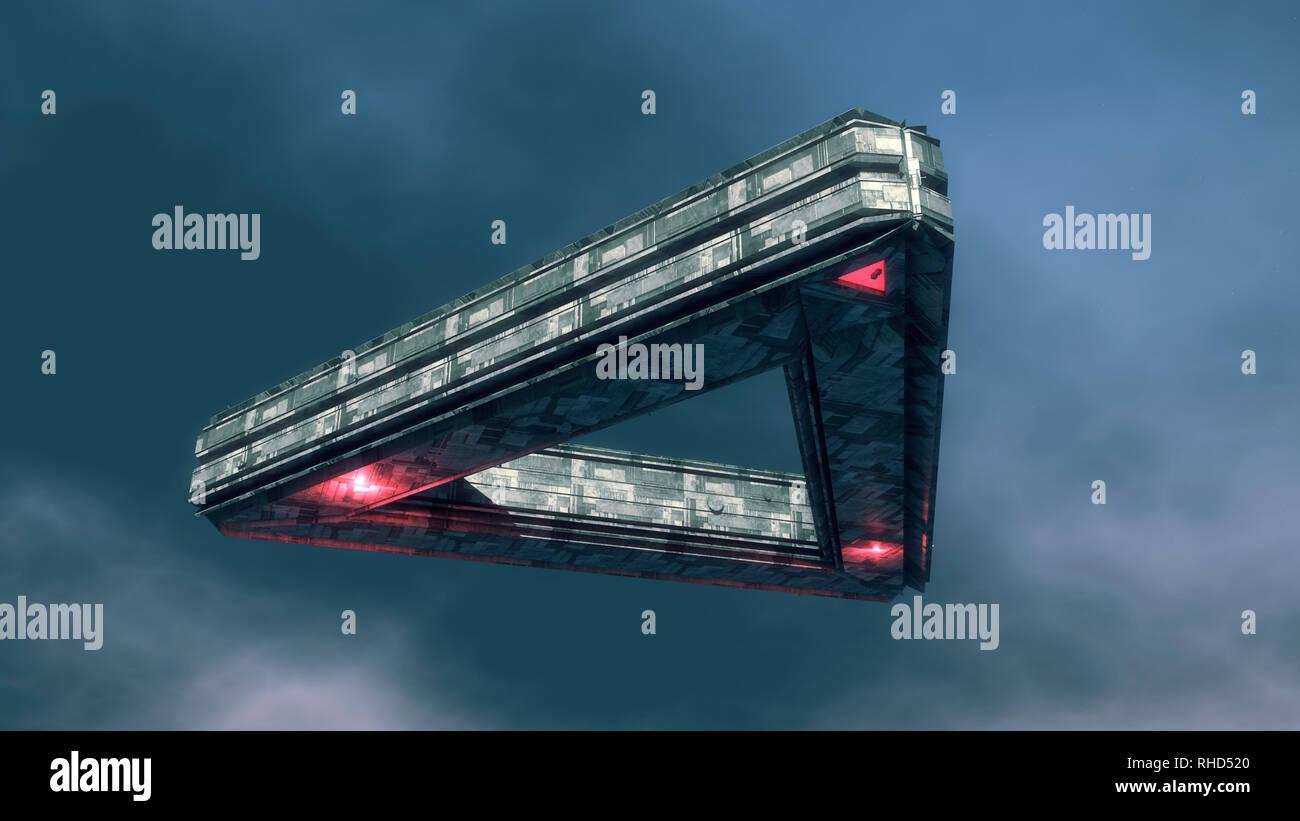 3d render. Futuristic spaceship concept - Stock Image