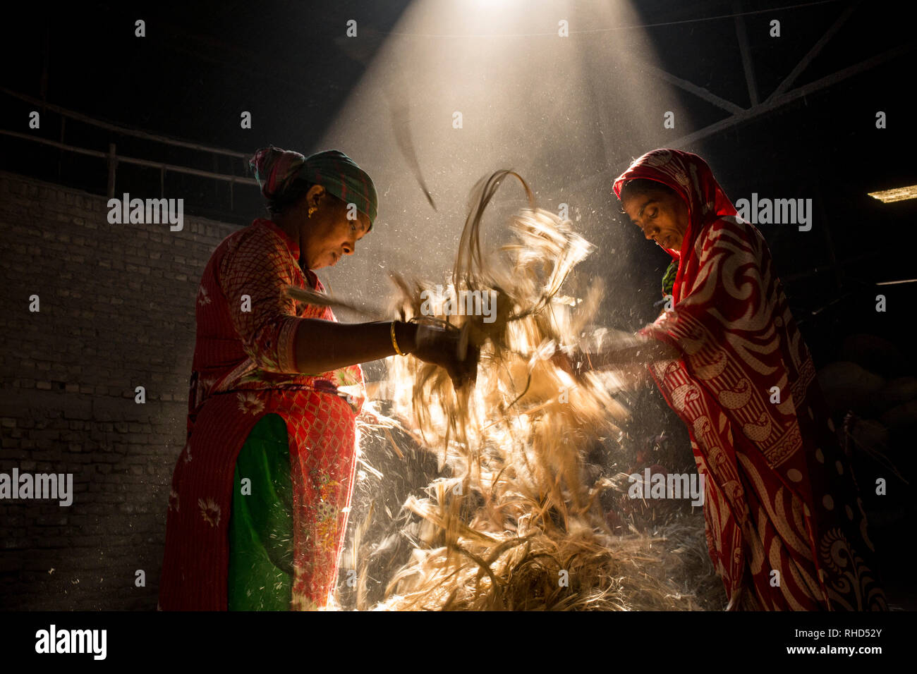 DHAKA, BANGLADESH - JANUARY 24 : Women working in dust environmentinside at jute processing mill near Dhaka, Bangladesh on January 24, 2019. - Stock Image