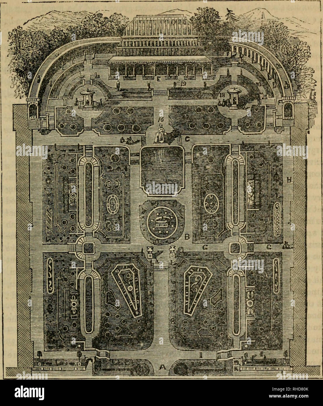 . The book of garden management : Comprising information on laying out and planting gardens... Gardening -- Great Britain. GABDEIf AND CONSEETATOEY OF THE EOYAL nOKTICULXUEAL SOCIETY. CHAPTER VI. LAYING OUT GAEDEi;r3 13S, Some of cm- readersmay remember Gore llousc; Keiisington, wten tlie presiding- deities of the place were the beautiful and accomplished Countess of Blessington and the fashionable Count D'Orsay, whose claim to be a leader of fashion was the smallest of his merits. Its portals were never closed to those who could wield pen or pencil, or had other claim to distinction ; and, am - Stock Image