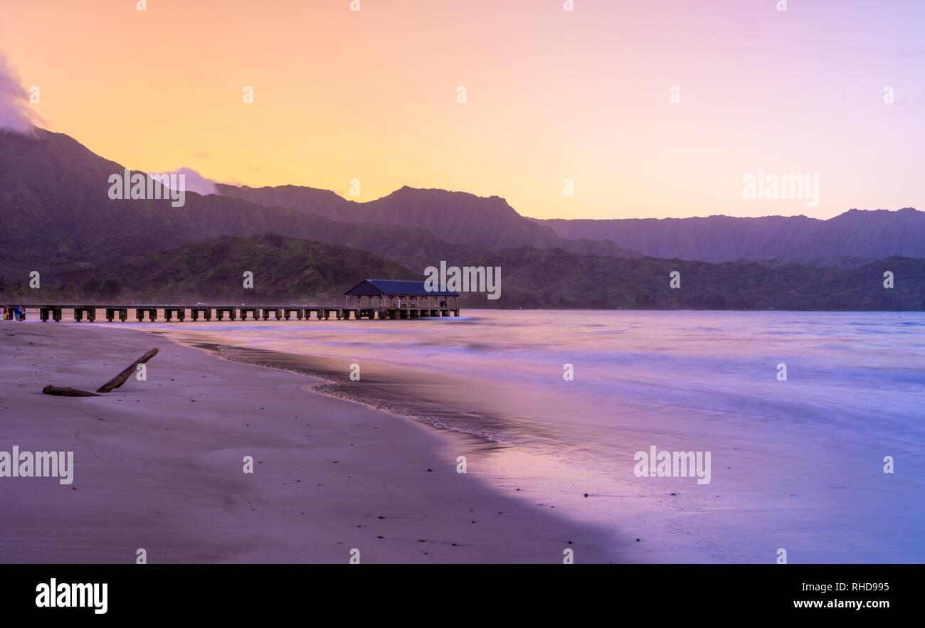 Dawn and sunrise at  Hanalei Bay on Kauai Hawaii - Stock Image