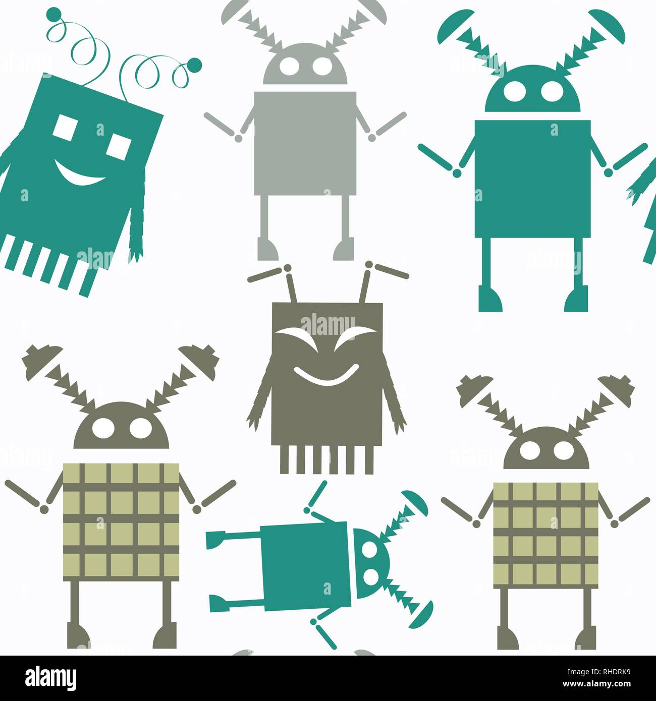 Robots abstract vector seamless pattern. It is located in swatch menu. Colorful background for surface design Stock Vector