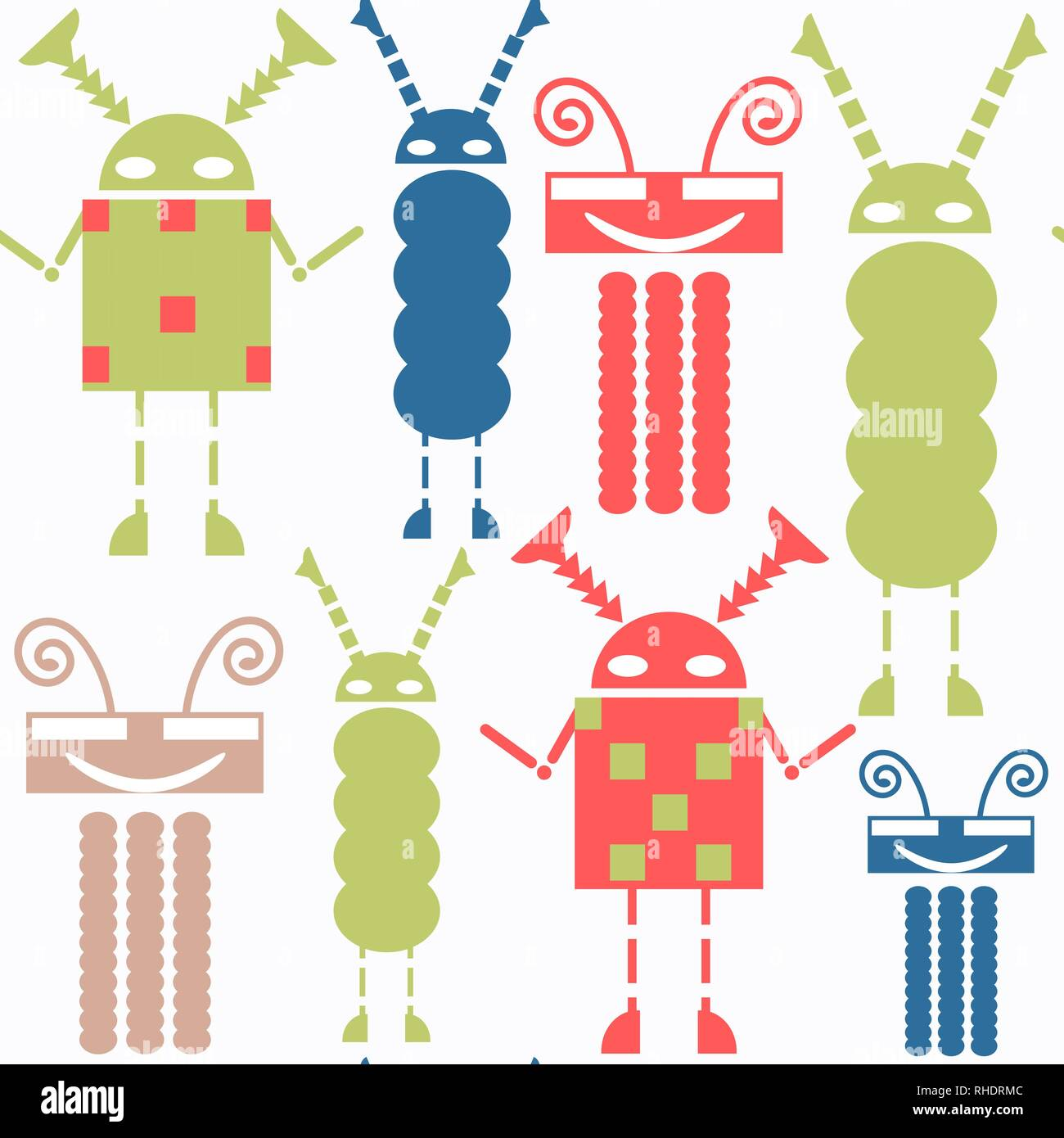 Abstract vector robots seamless pattern. Colorful background for surface design Stock Vector