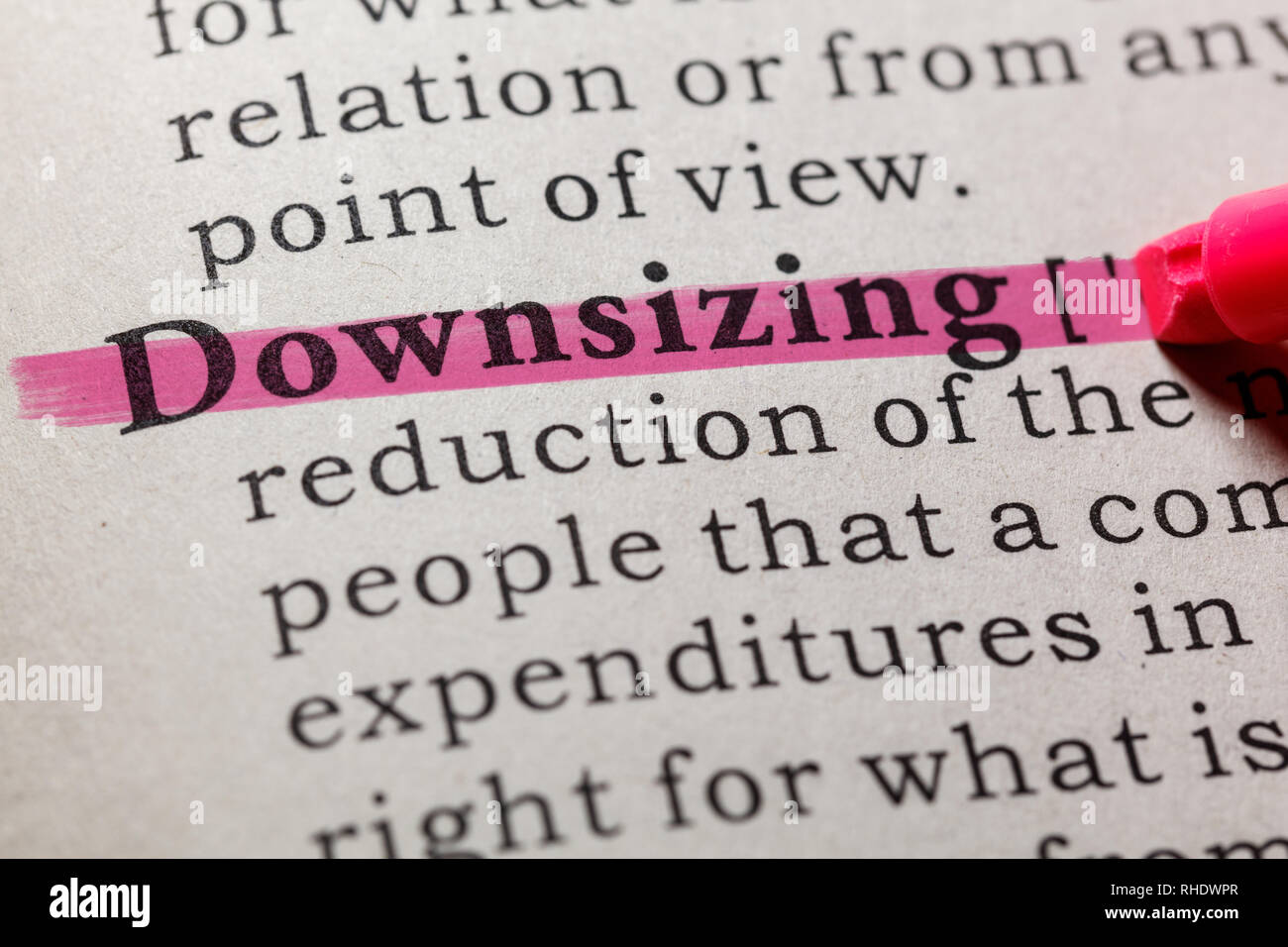 Fake Dictionary, Dictionary definition of the word downsizing. including key descriptive words. - Stock Image