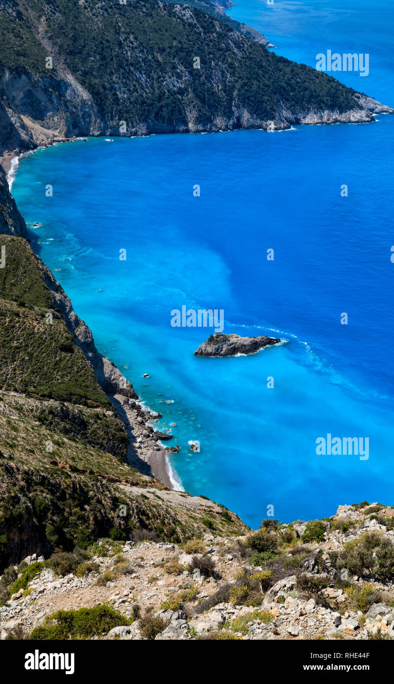 Beautiful landscape with rocks on the coast of the Ionian Sea near Assos village and Myrtos beach in Kefalonia, Ionian islands, Greece. - Stock Image