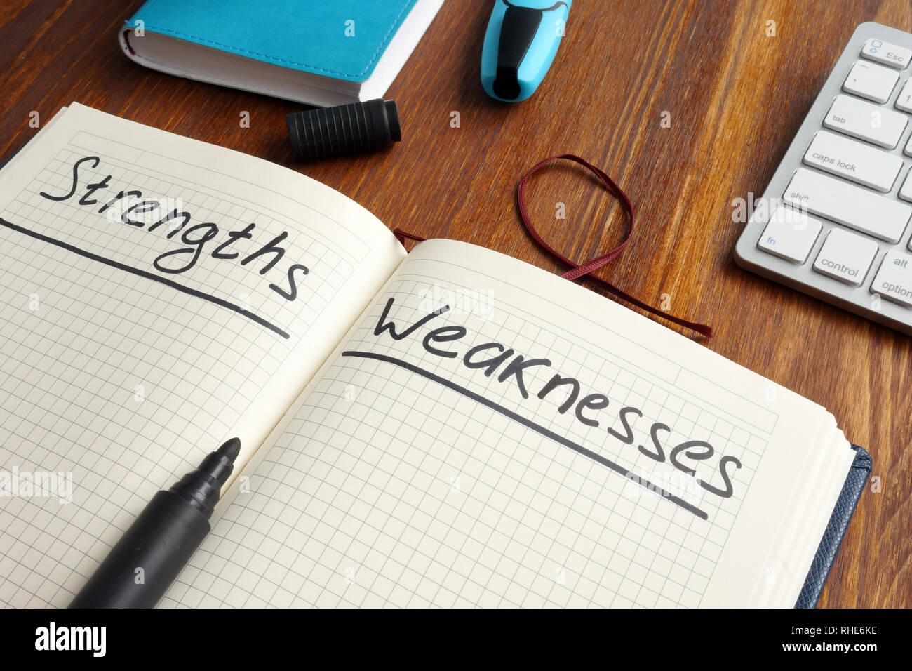 List of Strengths and Weaknesses in the note. - Stock Image