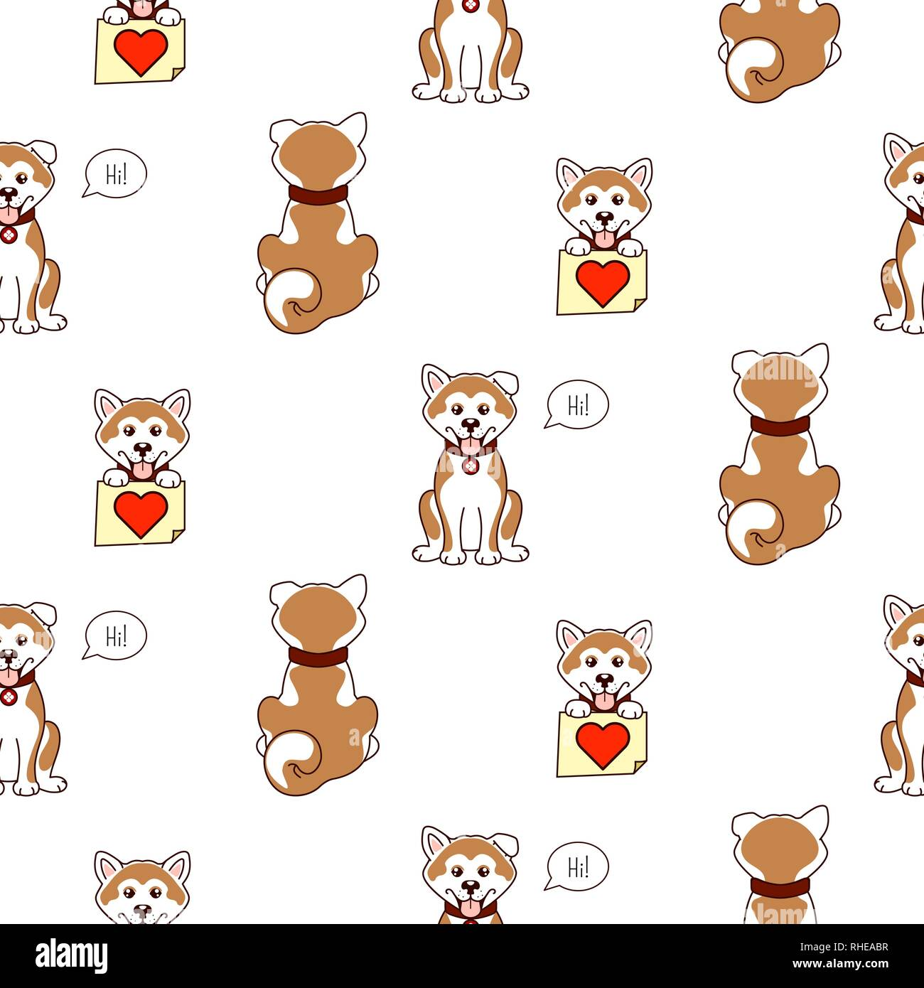 Shiba Inu Dog Cute Pattern Vector Background Stock Vector Image Art Alamy