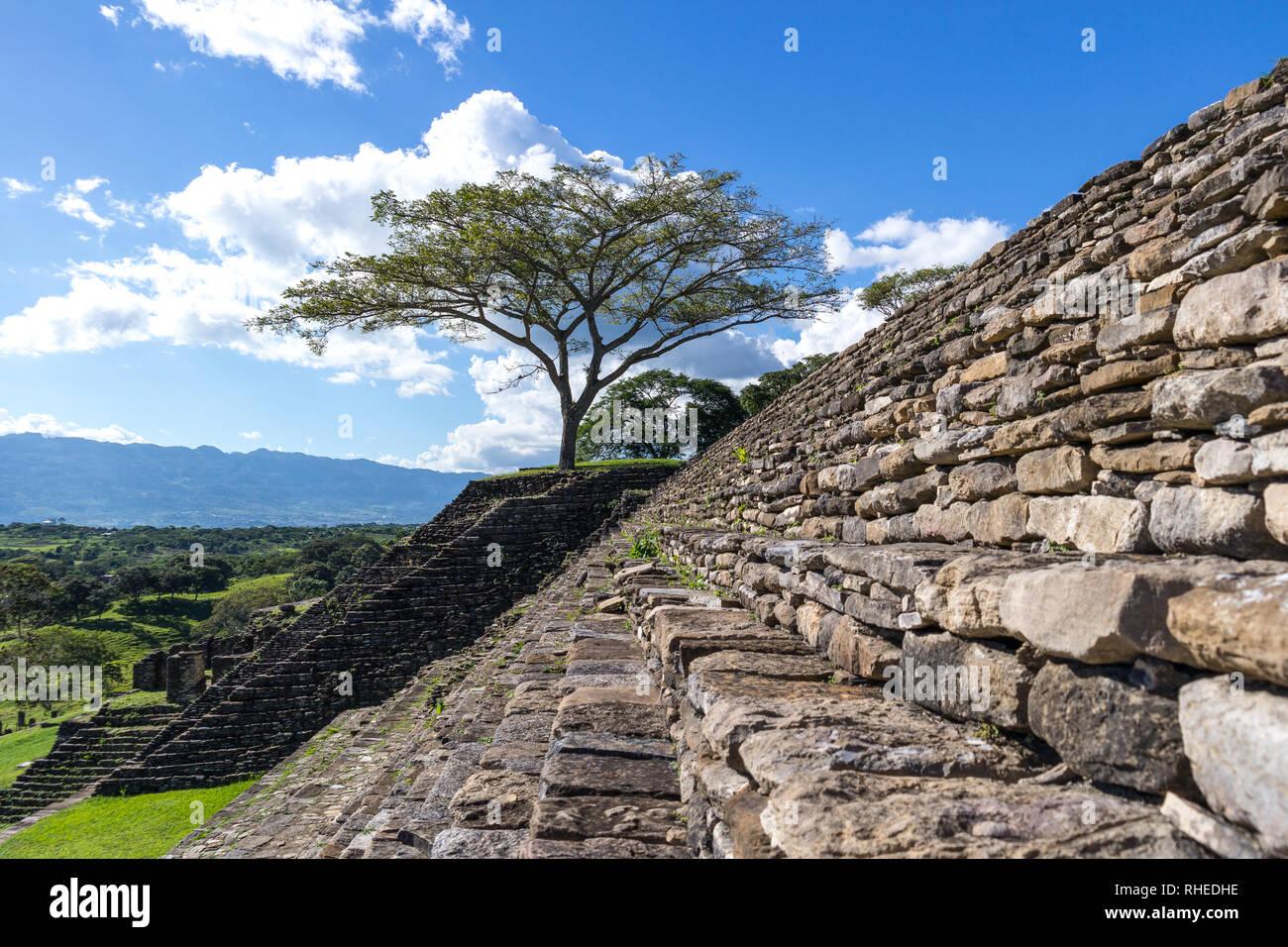 Acropolis of Tonina, Mayan Ruins, Chiapas, Mexico - Stock Image