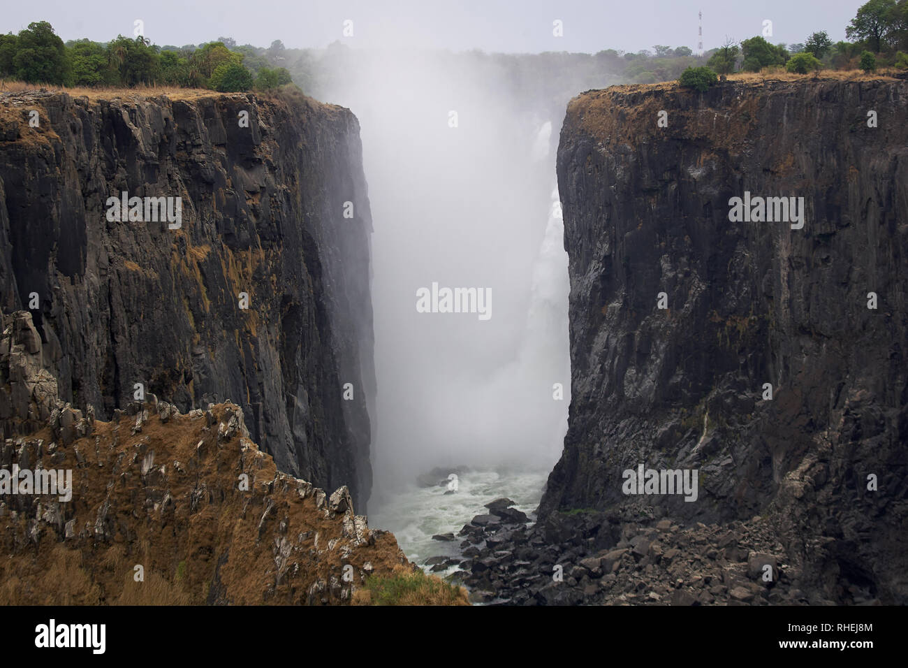 Views Of Victoria Falls Zambia During A Drought At The End
