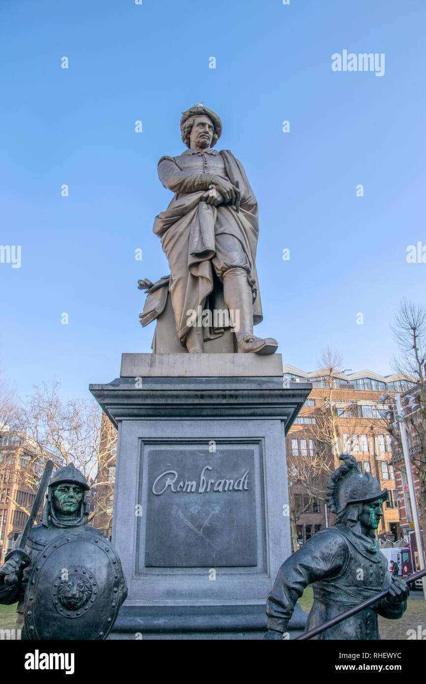 Close Up Of The Rembrandt Statue At The Rembrandtplein Square Amsterdam The Netherlands 2019 - Stock Image