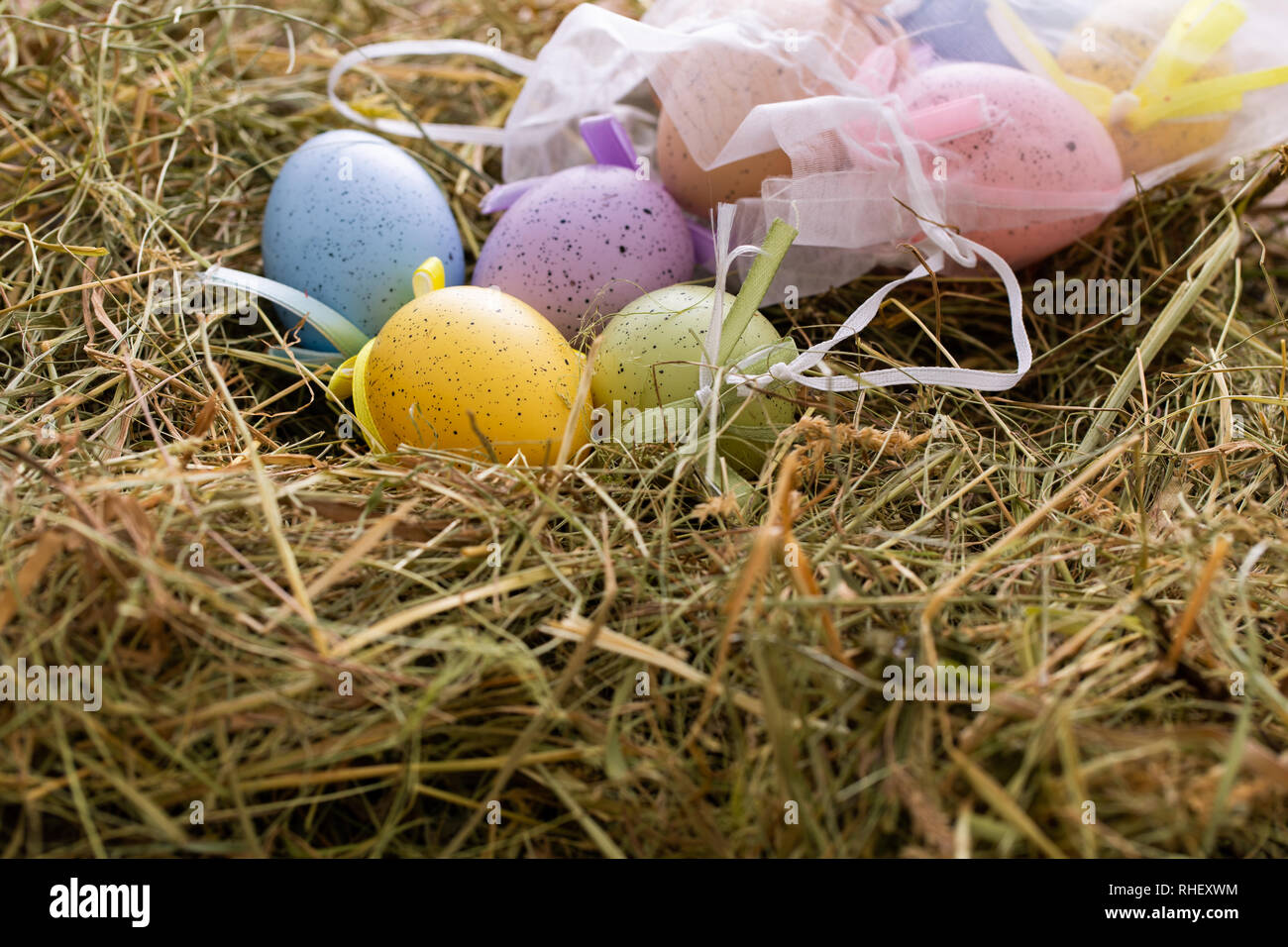 happy Easter traditional, colorful eggs on the hay - Stock Image