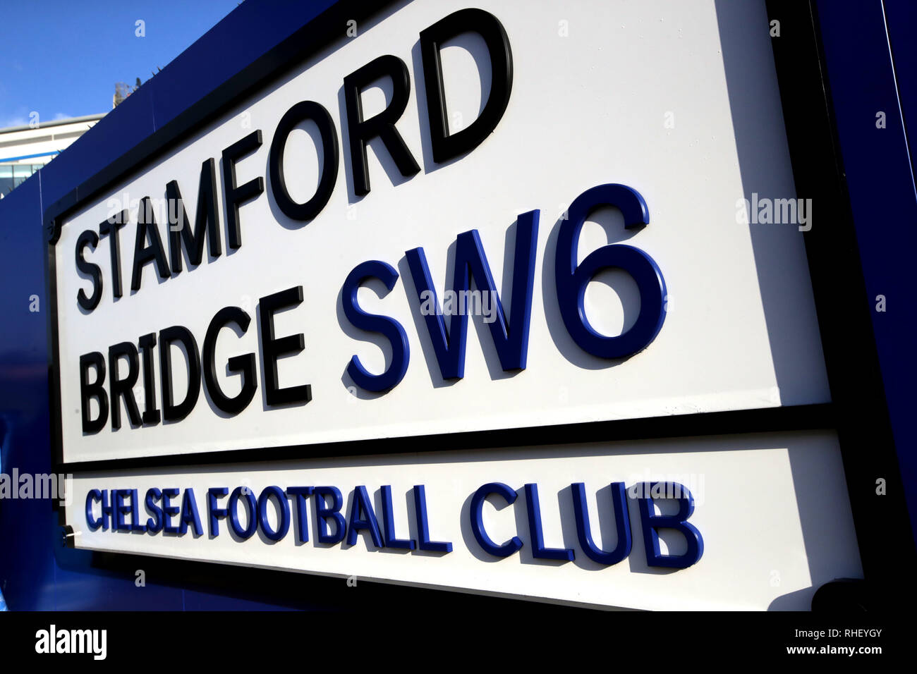 A general view of a Stamford Bridge sign prior to the