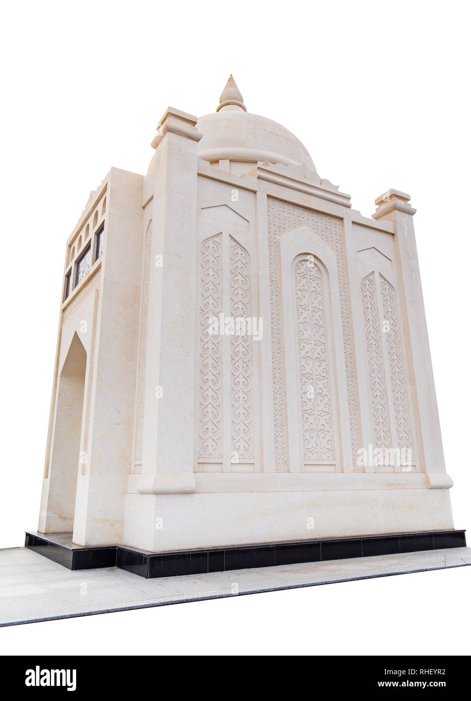 Ancient Muslim mausoleum on a white background - Stock Image