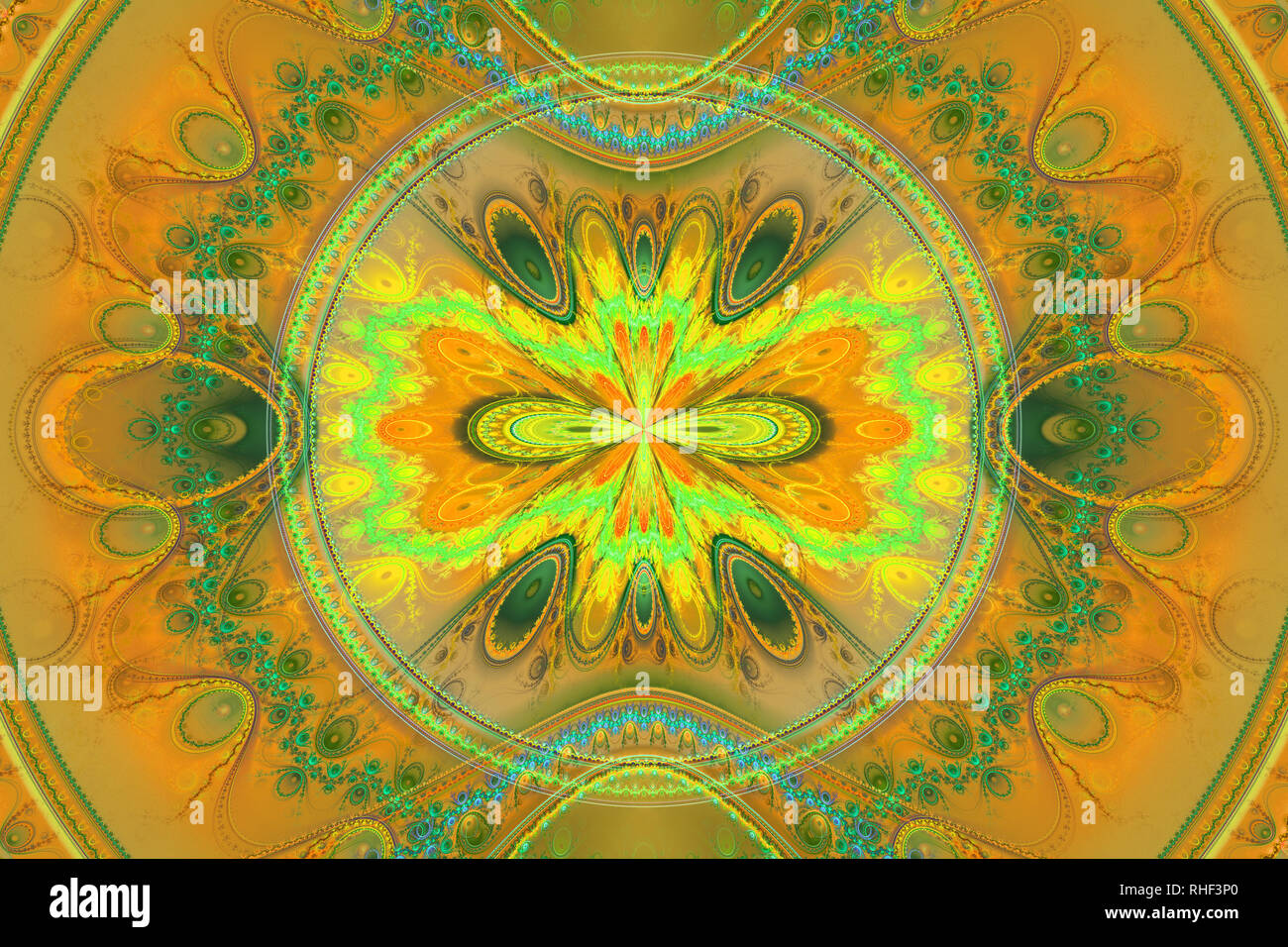 Geometric fractal shape can illustrate daydreaming imagination psychedelic space dreams magic explosion frequency patterns radiation concepts. - Stock Image