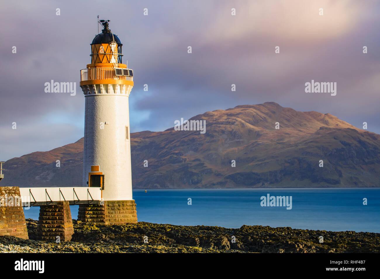 Rubha nan Gall Lighthouse on the Isle of Mull. Stock Photo