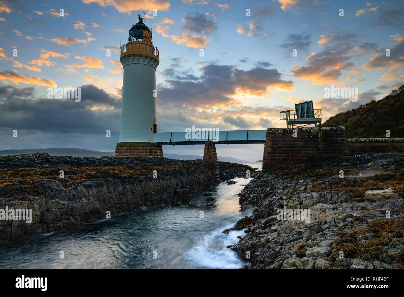 Rubha nan Gall Lighthouse on the Isle of Mull captured at sunrise. - Stock Image
