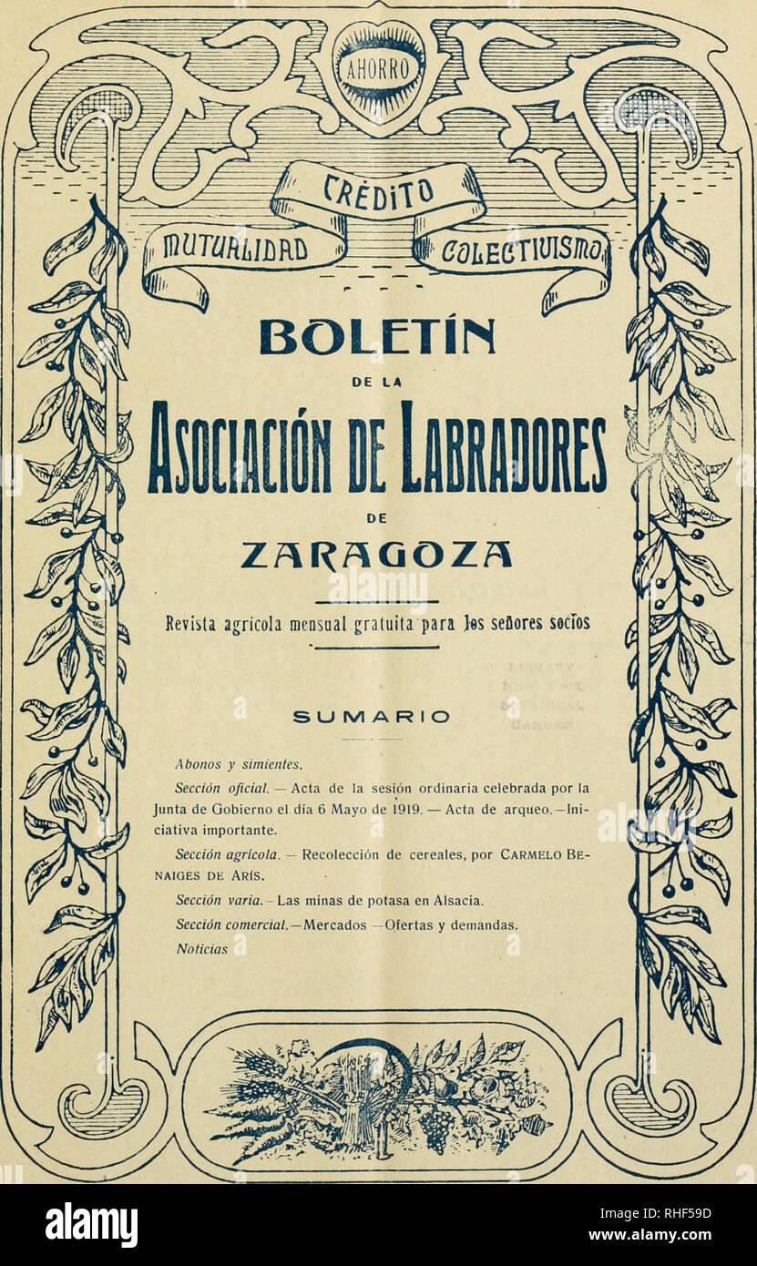 6efc37eea1 Boletn de la Asociacin de Labradores de Zaragoza. Agriculture -- Spain  Zaragoza.