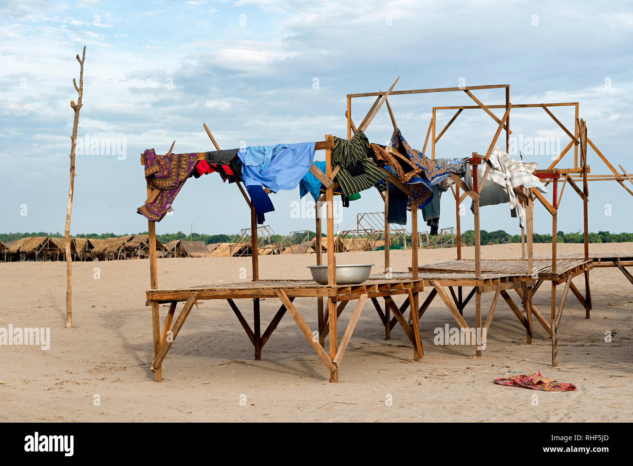 Drying clothes on the beach - Stock Image