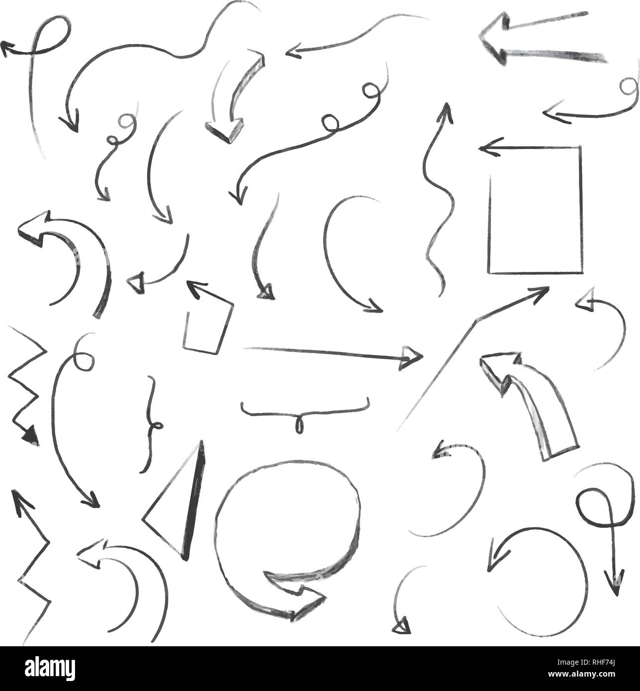 Linear shapes on white. Hand drawn scribble sketches. Array of lines. Black and white illustration. Doodles for design and business - Stock Image