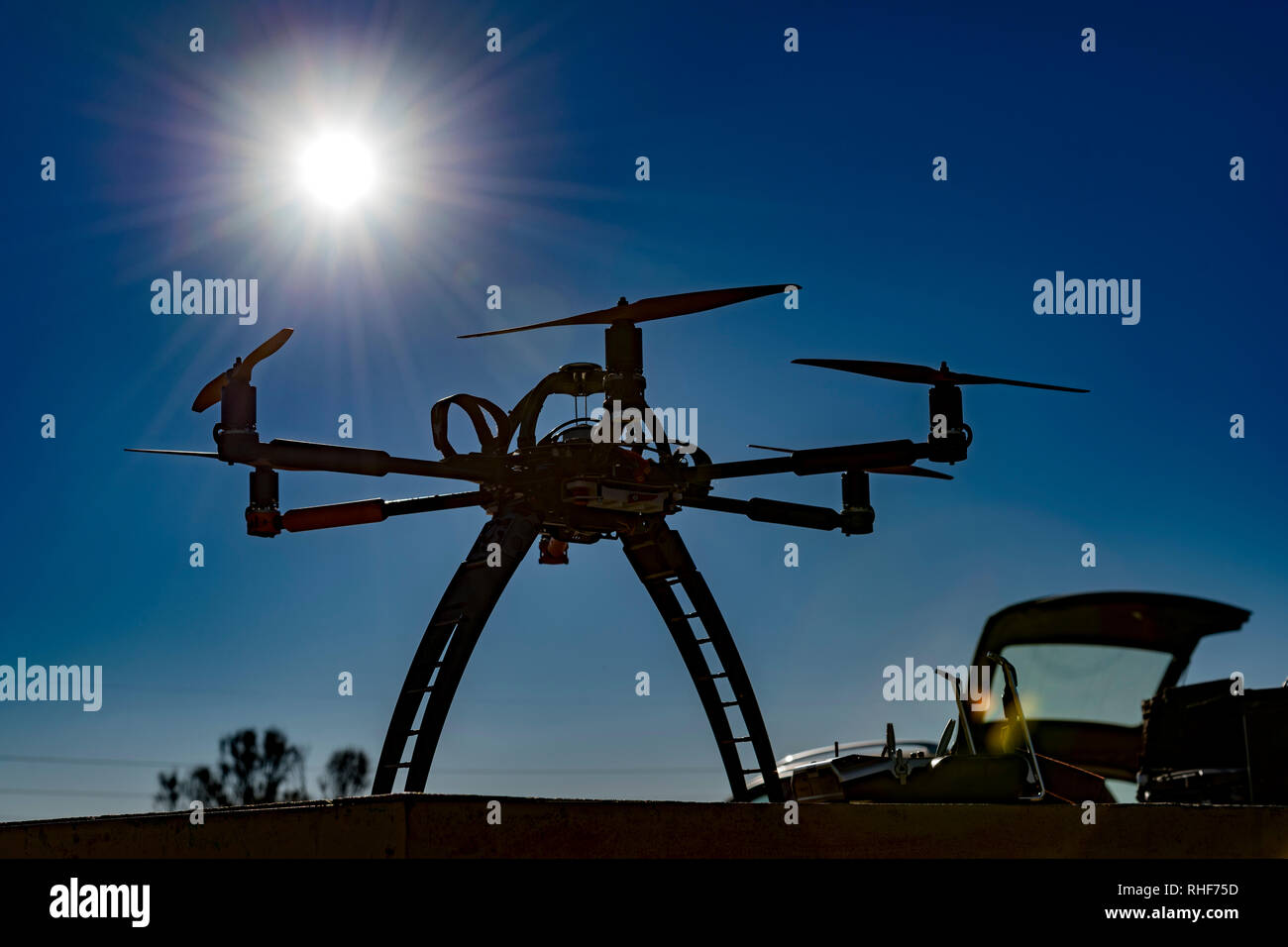 Professional drone before a flight in a sunny day - Stock Image