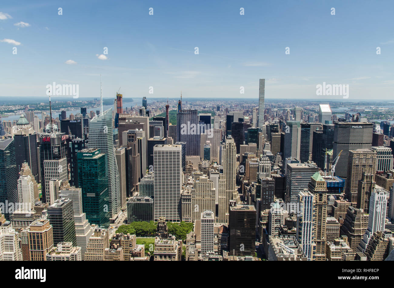 Aerial view of lower Manhattan as seen from the top of Empire state building in New York , USA - Stock Image